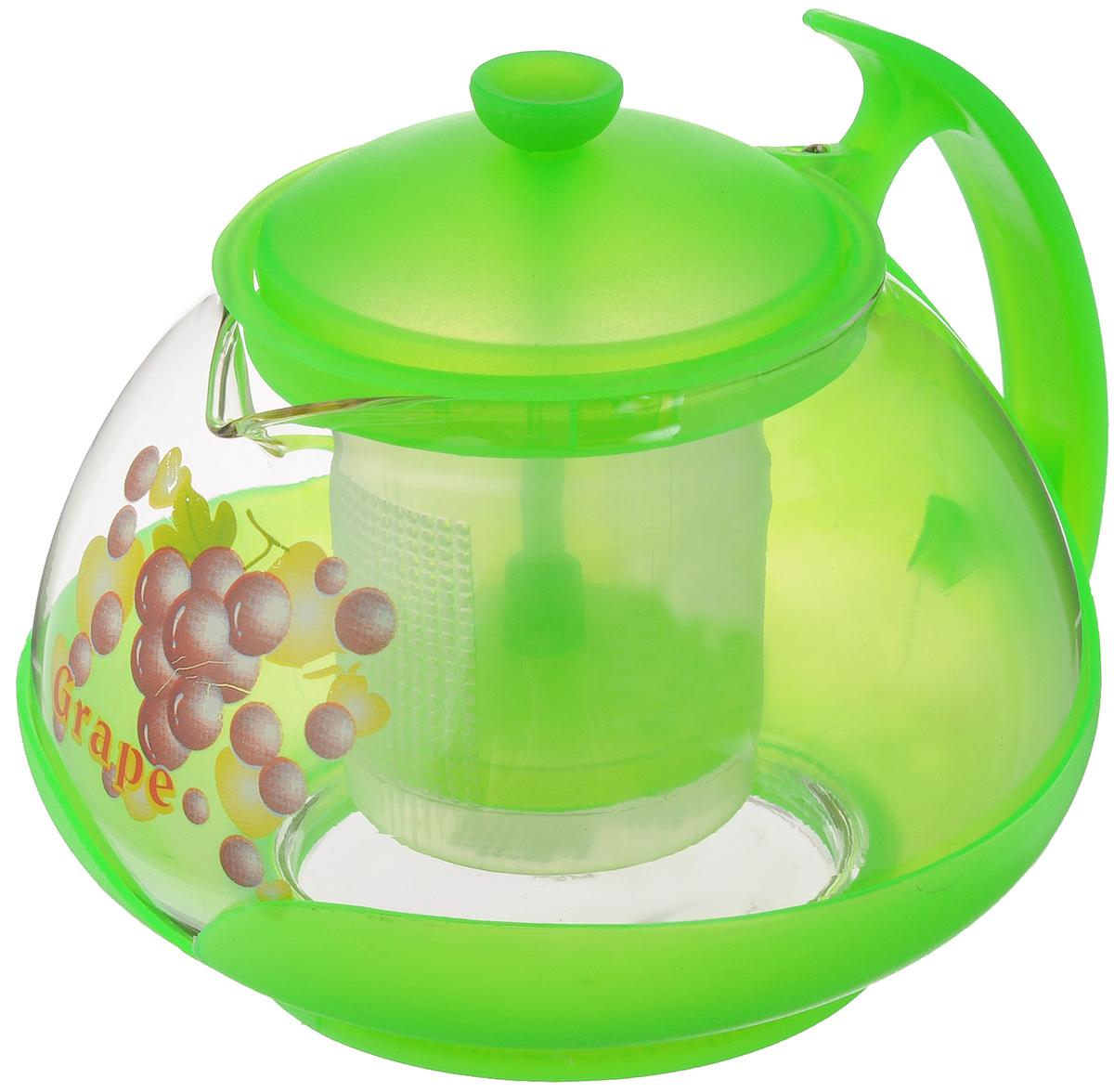 Чайник заварочный Mayer & Boch, с фильтром, цвет: прозрачный, салатовый, 700 мл. 20222022_прозрачный, салатовыйЗаварочный чайник Mayer & Boch изготовлен из жаропрочного стекла и полипропилена. Изделие оснащено сетчатым фильтром из пищевого полипропилена (пластика), который задерживает чаинки и предотвращает их попадание в чашку, а прозрачные стенки дадут возможность наблюдать за насыщением напитка. Чай в таком чайнике дольше остается горячим, а полезные и ароматические вещества полностью сохраняются в напитке. Диаметр чайника (по верхнему краю): 8 см. Высота чайника (без учета крышки): 9,5 см. Высота фильтра: 6,5 см.