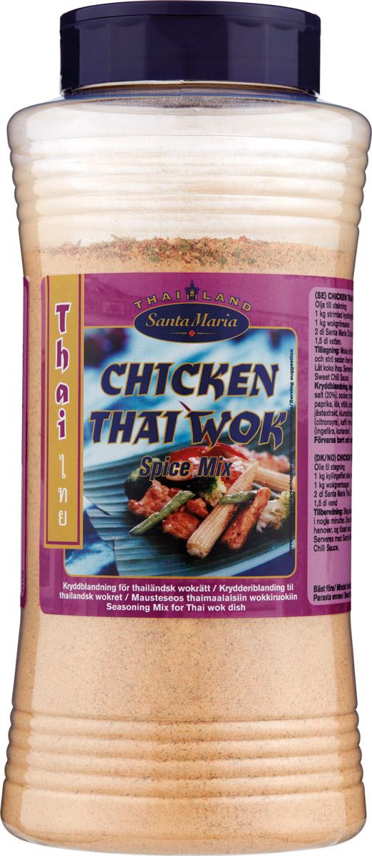 Santa Maria Смесь специй к куриным вок-блюдам, 710 г17484(на 3-4 порции): разогрейте растительное масло на сковороде и обжарьте в нем 400 г куриного филе, нарезанного кусочками, в течение 2-3-х минут. Добавьте овощи, свежую кинзу, смесь специй к куриным вок-блюдам по вкусу и при необходимости воду. Доведите до готовности. Вместо куриного филе можно использовать также свинину, креветки или лосось. Подавайте с рисом «Жасмин» или тайской вермишелью (рисовой, стеклянной или яичной «Санта Мария»).