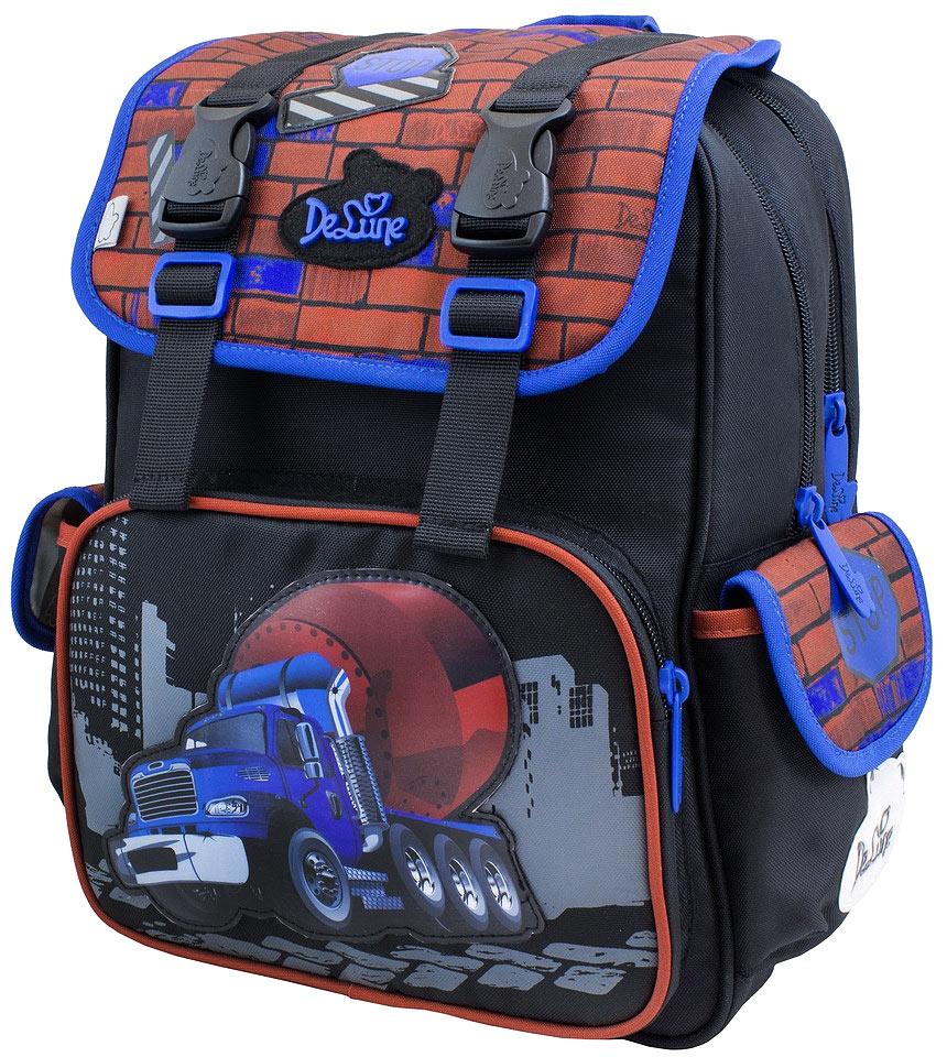 DeLune Рюкзак детский Stop с наполнением цвет черный синий 2 предмета52-07Рюкзак детский DeLune Stop имеет мягко-каркасную форму - это уникальная технология, позволяющая держать форму даже при полностью пустом рюкзаке. Эргономичная спинка имеет достаточно жесткий каркас, но при этом очень мягкая и приятная снаружи, что обеспечивает комфортное ношения и защиту спины ребенка. Проработанные детали, украшения и аппликации, яркие ткани - все для того чтобы сохранить для детей ощущения сказки и волшебства и окунуть их в мир чудес, а благодаря качественному, легкому и прочному материалу, рюкзак долговечен в носке, а множество отделений поможет разместить все необходимые вещи школьника. Рюкзак имеет два основных отделения. На лицевой части рюкзака расположен большой карман с отделением для письменных принадлежностей, над ним карман под клапаном на застежке-молнии и два боковых кармана на липучках. В центральном отделении находятся два пластиковых разделителя с карманом из сетки; на противоположной стороне большое сетчатое отделения...