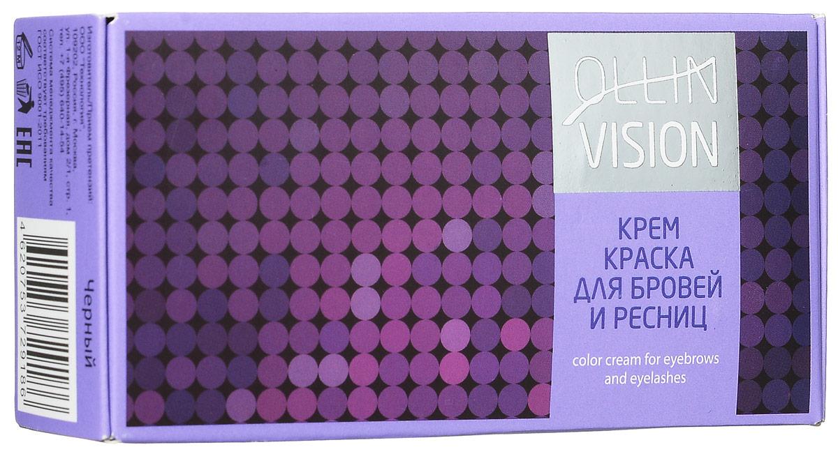 Ollin Крем-краска для бровей и ресниц (черный) Vision Set Color Cream For Eyebrows And Eyelashes (Black) 20+20 мл (в наборе) (Ollin Professional)