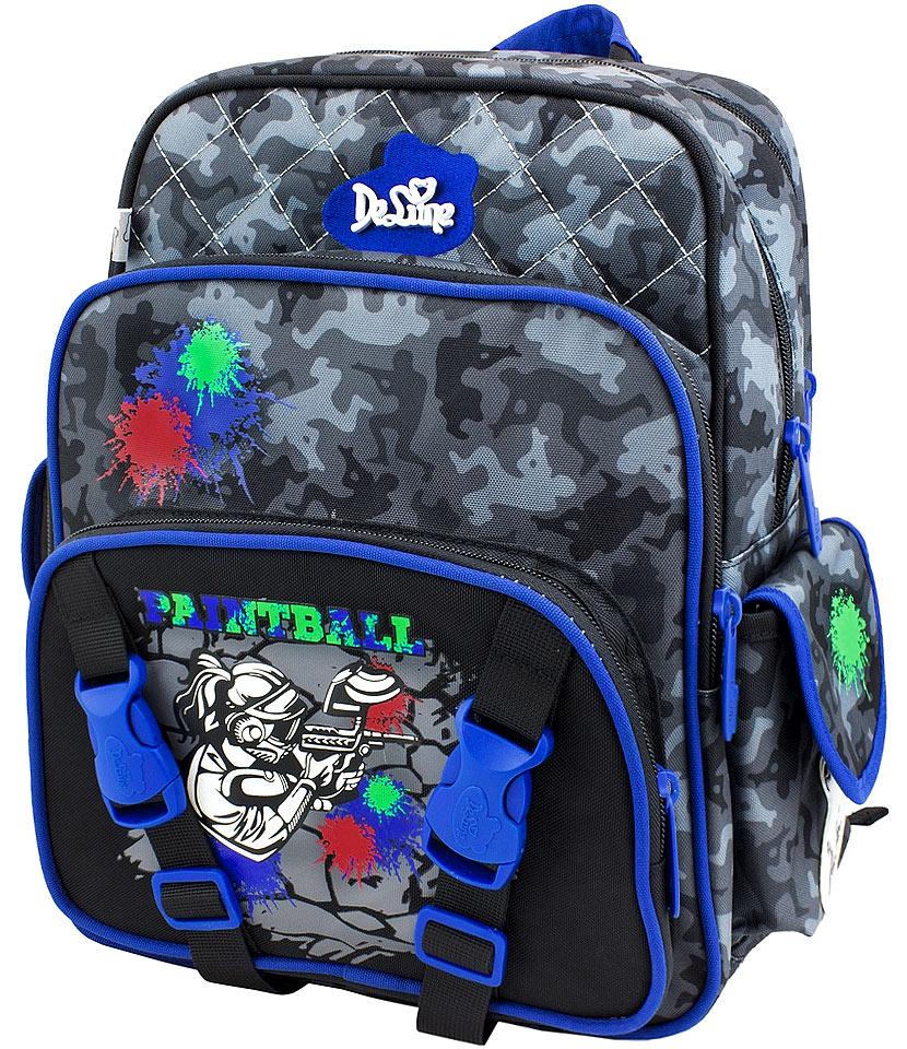 DeLune Рюкзак детский Paintball с наполнением цвет черный синий 2 предмета55-06Детский рюкзак DeLune Paintball имеет мягко-каркасную форму, которая позволяет держать форму даже при полностью пустом рюкзаке, не прогибается и не меняется под весом. Эргономичная спинка имеет достаточно жесткий каркас, но при этом очень мягкая и приятная снаружи, что обеспечивает комфортное ношение и защиту спины ребенка. Благодаря необычной форме рюкзак имеет большую вместимость. Проработанные детали, украшения и аппликации, яркие ткани - все для того, чтобы сохранить для детей ощущения сказки и волшебства и окунуть их в мир чудес, а благодаря качественному, легкому и прочному материалу рюкзак долговечен в носке, а множество отделений поможет разместить все необходимые вещи школьника. Рюкзак имеет два основных отделения. В центральном отделении находятся два пластиковых разделителя с двумя карманами из сетки, на противоположной стороне - большое сетчатое отделение на резинке. Дно рюкзака можно сделать более жестким, разложив специальную панель, что повышает сохранность...