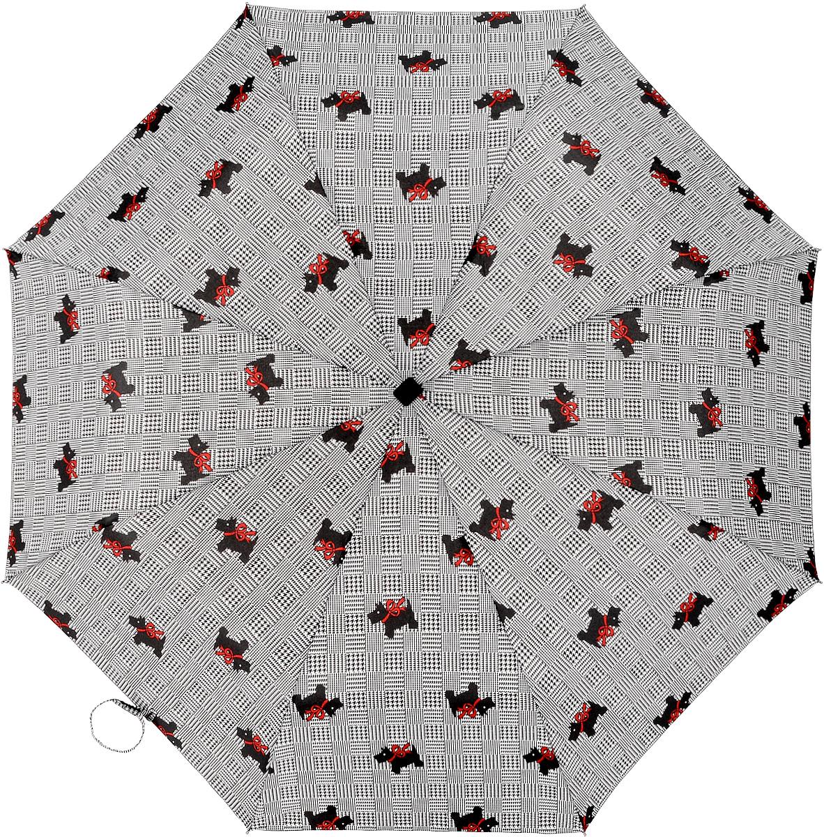 Зонт женский автомат Fulton, расцветка: собачки. J738-1968 ScottyDogJ738-1968 ScottyDogПолный автомат Плоский ветростойкий алюминиевый каркас в 3 сложения 8 спиц длина спиц - 53 см материал купола - полиэстер длина сложенного зонта - 28 см размер 97 см