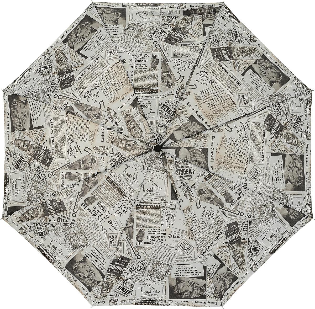 Зонт женский механика Fulton, расцветка: газета. L450-3176 Old NewsL450-3176 OldNewsНадежный механический зонт. Ветроустойчивая конструкция. Большой купол. З сложения, 8 спиц Длина в сложенном виде 24 см, диаметр купола 98 см