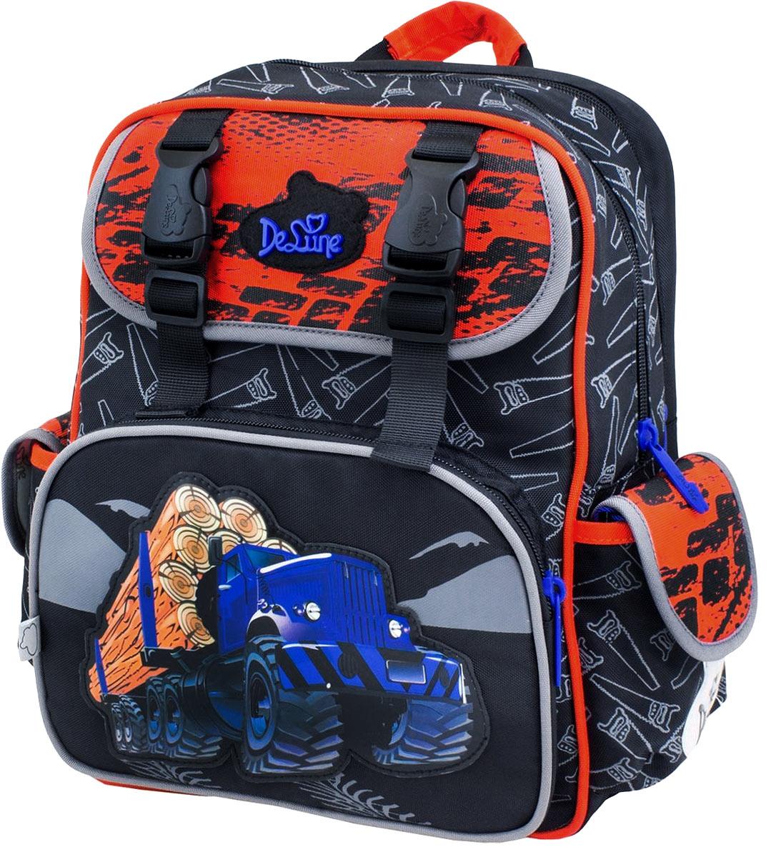 DeLune Рюкзак детский с наполнением цвет черный красный 2 предмета51-07_красныйДетский рюкзак DeLune имеет мягко-каркасную форму. Эта уникальная технология позволяет держать форму даже при полностью пустом рюкзаке, не прогибается и не меняет форму под весом. Эргономичная спинка имеет достаточно жесткий каркас, но при этом очень мягкая и приятная снаружи, что обеспечивает комфортное ношение и защиту спины ребенка. Рюкзак содержит два вместительных отделения, закрывающиеся на застежки-молнии известной фирмы SBS. В большом отделении находятся две пластиковые перегородки для тетрадей, фиксирующиеся резинкой, а также три открытых сетчатых кармана и нашивная бирка для заполнения личных данных владельца. Дно рюкзака можно сделать более устойчивым, разложив специальную панель. Второе отделение карманов не имеет, подходит для тетрадей и книг формата А4. Внутреннее оснащение рюкзака разработано по специальной системе распределения вещей Open access, что позволяет удобно распределить школьные принадлежности ребенка. Лицевая сторона рюкзака оснащена накладным...