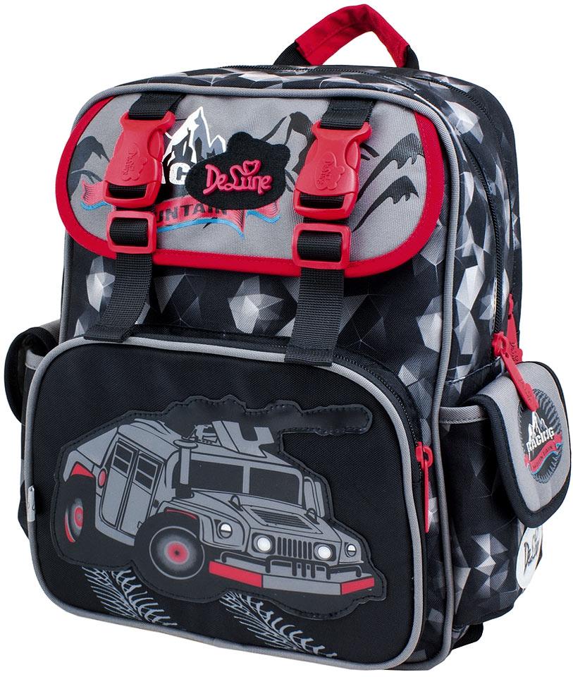 DeLune Рюкзак детский Mountain с наполнением цвет черный красный 2 предмета51-10Детский рюкзак DeLune Mountain имеет мягко-каркасную форму. Эта уникальная технология, позволяющая держать форму даже при полностью пустом рюкзаке, не прогибается и не меняет форму под весом. Эргономичная спинка имеет достаточно жесткий каркас, но при этом очень мягкая и приятная снаружи, что обеспечивает комфортное ношение и защиту спины ребенка. Рюкзак содержит два вместительных отделения, закрывающиеся на застежки-молнии известной фирмы SBS. В большем отделении находятся две пластиковые перегородки для тетрадей, фиксирующиеся резинкой, а также три открытых сетчатых кармана и нашивная бирка для заполнения личных данных владельца. Дно рюкзака можно сделать более устойчивым, разложив специальную панель. Второе отделение не имеет карманов и предназначено для переноски больших книг и тетрадей формата А4. Внутреннее оснащение рюкзака разработано по специальной системе распределения вещей Open access, что позволяет удобно распределить школьные...