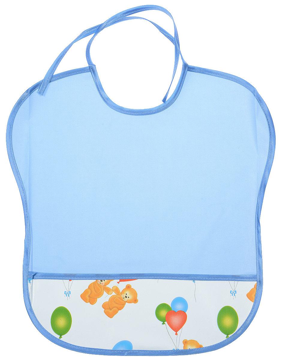 Колорит Нагрудник цвет голубой белый 33 х 33 см0083_белый, голубойНагрудник Колорит с непромокаемым слоем защитит одежду малыша во время кормления и освободит родителей от дополнительных хлопот. Нагрудник изготовлен из клеенки подкладной с ПВХ покрытием и дополнен широким карманом. Яркая расцветка и оригинальный рисунок непременно понравятся вашему малышу. Нагрудник предназначен для многоразового использования, не промокает, предохраняет от загрязнений во время кормления. Пока ваш малыш растет - вы сможете легко контролировать длину изделия и регулировать размер горловины с помощью удобных завязок.