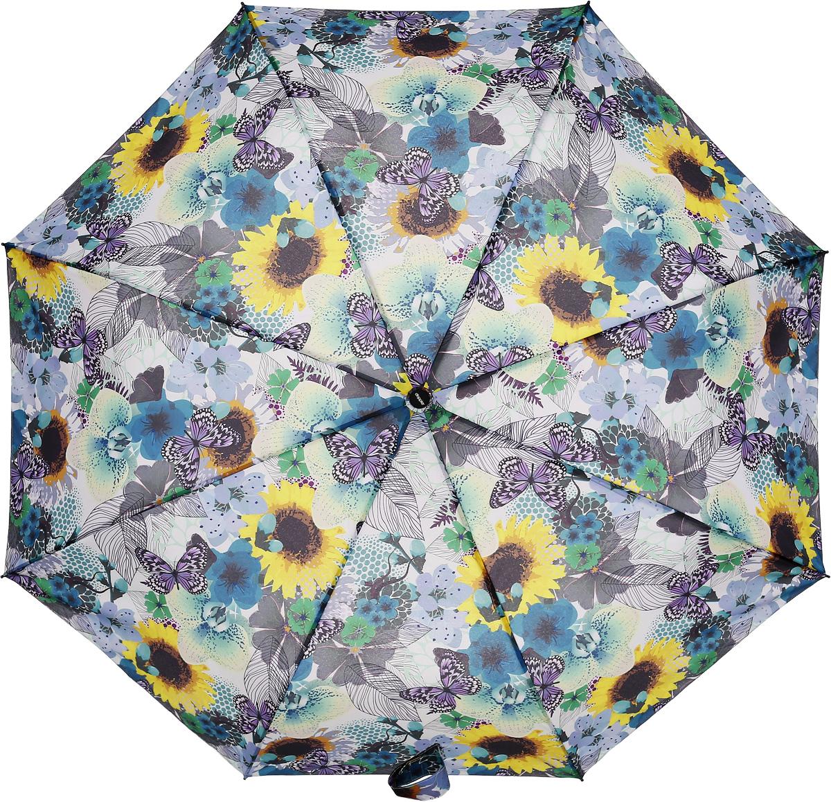 """Doppler Зонт """"Prima Vera"""", 3 сложения, система антиветер, лакированная ручка. 7441465PV violet butterflies"""