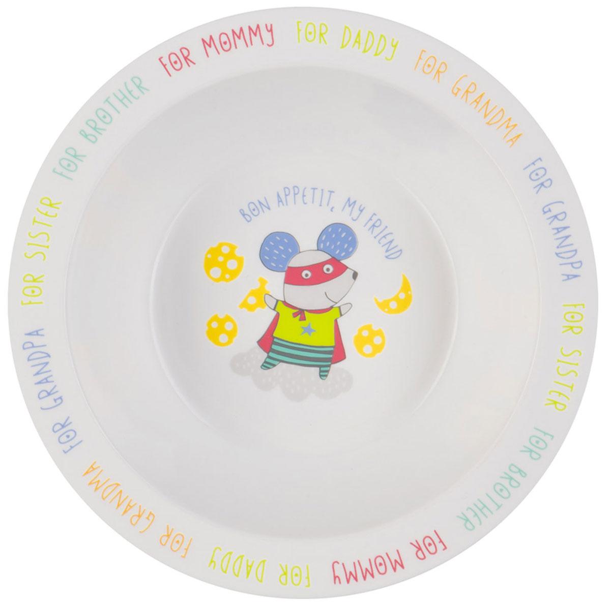 Happy Baby Тарелка детская Мышка15016 NEW_мышкаТарелка детская Happy Baby Мышка изготовлена из безопасного материала. Тарелочка, оформленная веселой картинкой, понравится и малышу, и родителям! Ребенок будет с удовольствием учиться кушать самостоятельно. Тарелочка подходит для горячей и холодной пищи. Яркий дизайн тарелки превращает процесс кормления в увлекательную игру. Можно использовать в СВЧ-печи и мыть в посудомоечной машине. Подходит для детей от 6 месяцев.