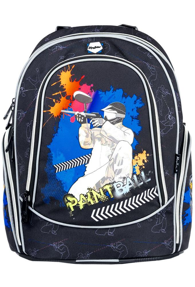 MagTaller Рюкзак детский Paintball20215-21Детский рюкзак MagTaller Paintball выполнен из надежных износостойких тканей - нейлона и полиэстера. Эргономичная спинка рюкзака дополнительно усилена рамкой из алюминия, повторяющей естественный изгиб позвоночника. Дно выполнено из PVC, а ножки - из прочного пластика, они надежно защищают содержимое рюкзака от воды и грязи. Уплотненные регулируемые лямки уменьшают нагрузку на плечи ребенка. Фиксаторы лямок позволяют закрепить концы лямок при помощи пластиковых крючков. Светоотражающие элементы уменьшают риск ДТП в темное время суток. Рюкзак содержит два вместительных отделения, закрывающихся на застежки-молнии. В первом отделении находится пришивной карман на молнии, во втором отделении находится органайзер, предназначенный для хранения мобильного телефона, пишущих принадлежностей и других мелочей, также здесь находится лента с карабином для ключей. Дно рюкзака можно сделать более устойчивым, разложив специальную панель. На лицевой стороне находится вместительный карман на...