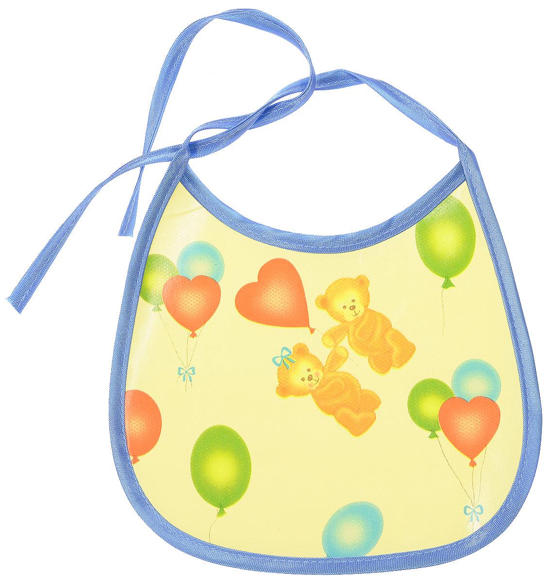 Колорит Нагрудник Мишки с шариками цвет желтый голубой 17 х 17 см