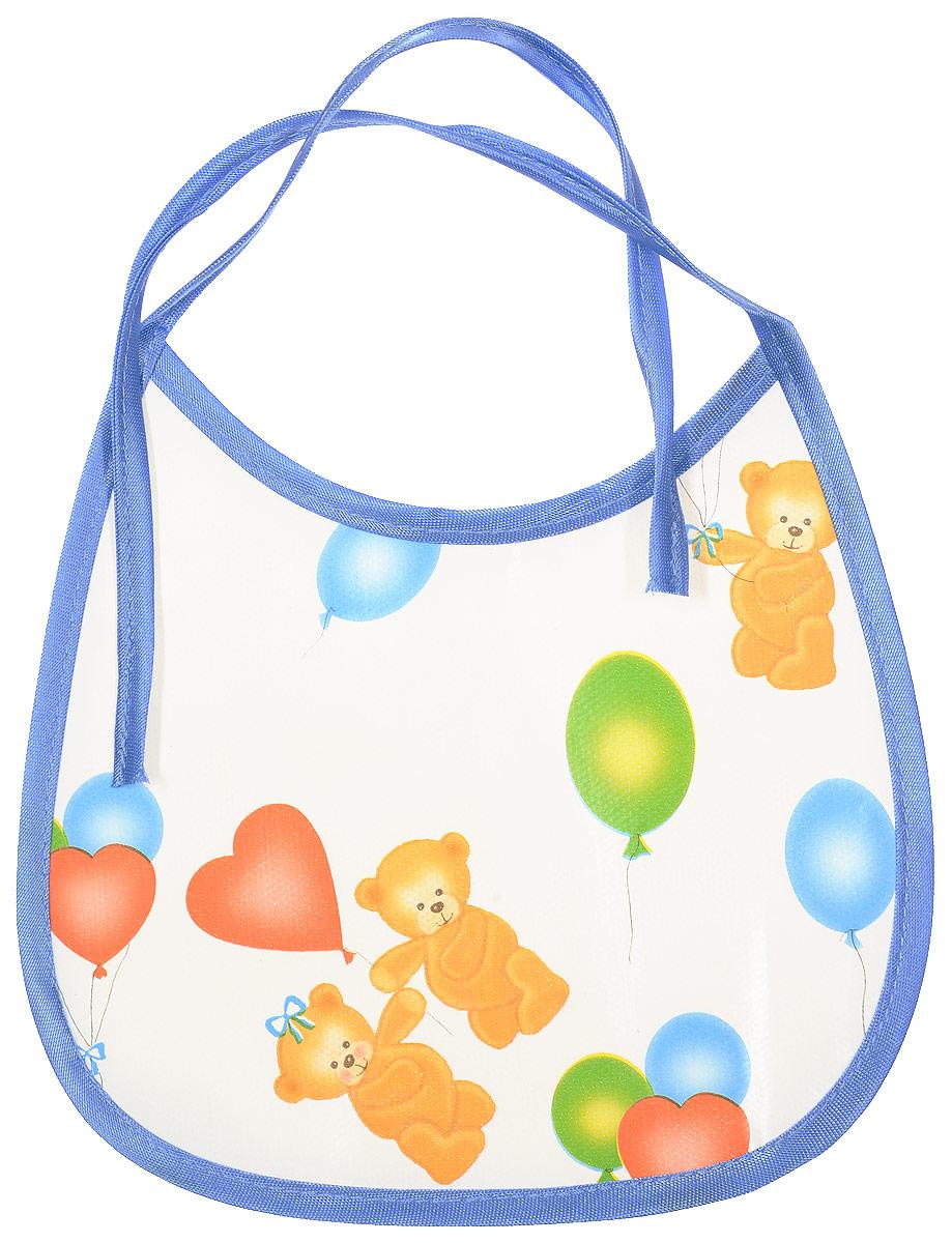 Колорит Нагрудник Мишки с шариками цвет голубой белый 17 х 17 см