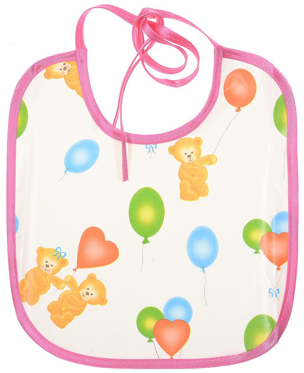 Колорит Нагрудник Мишки с шариками цвет белый розовый 20 х 22 см