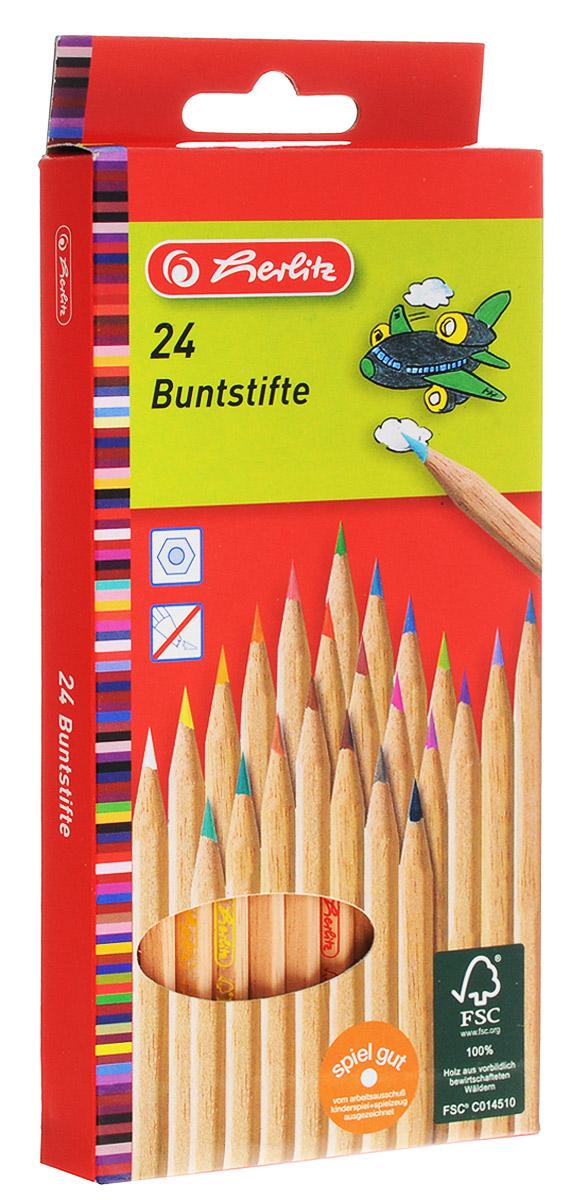 Herlitz Набор цветных карандашей 24 шт8660524Набор цветных карандашей Herlitz откроет юным художникам новые горизонты для творчества, а также поможет отлично развить мелкую моторику рук, цветовое восприятие, фантазию и воображение. Традиционный шестигранный корпус изготовлен из натуральной древесины светлого цвета. Карандаши удобно держать в руках, а мягкий грифель не требует сильного нажима. Комплект включает в себя 24 заточенных карандаша ярких насыщенных цветов.