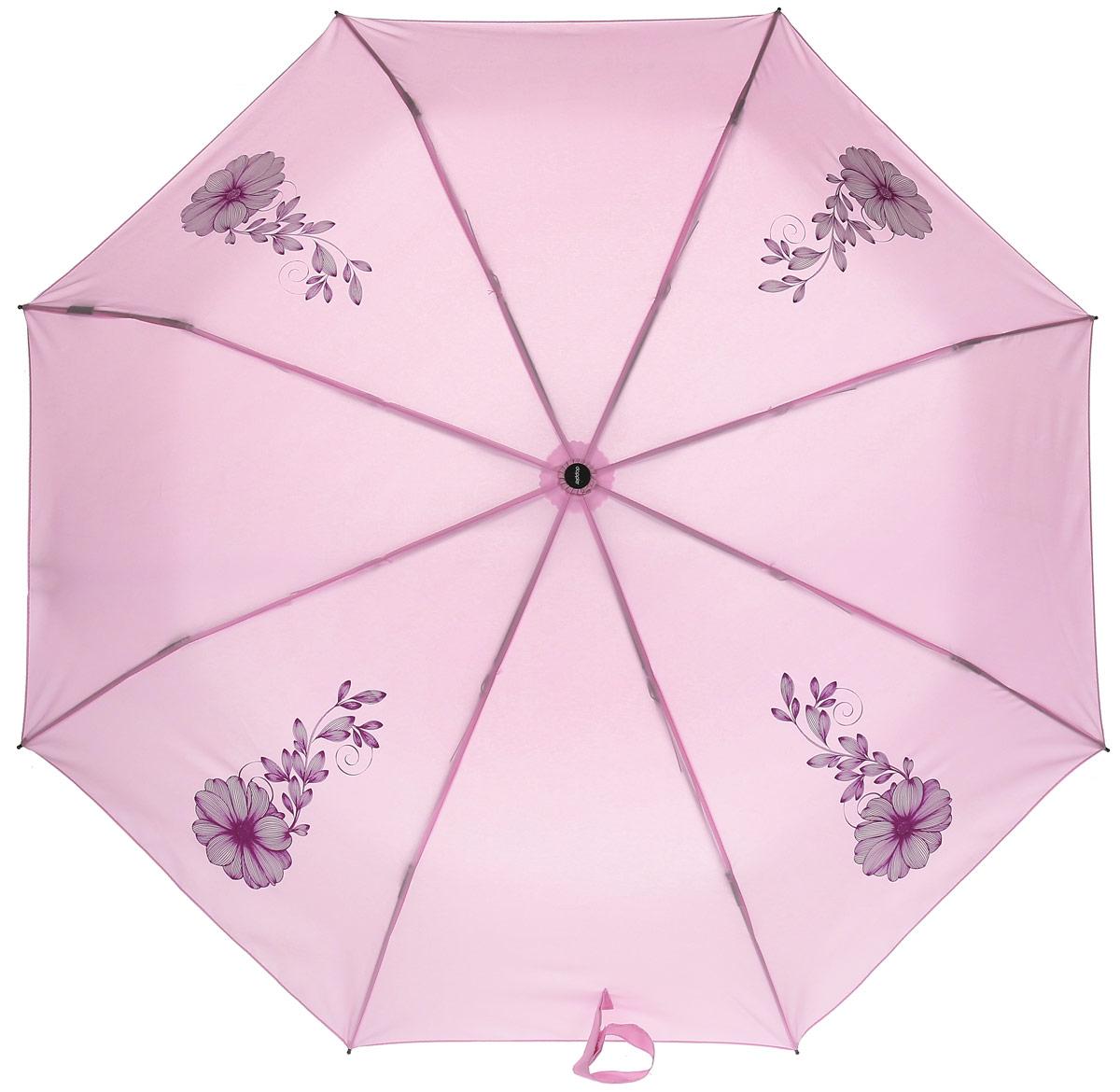 Doppler Зонт Flowers, 3 сложения, система антиветер, лакированная ручка. 7441465F rose7441465F roseЗонт Doppler, всемирно известный бренд, имеющий многолетнюю традицию.