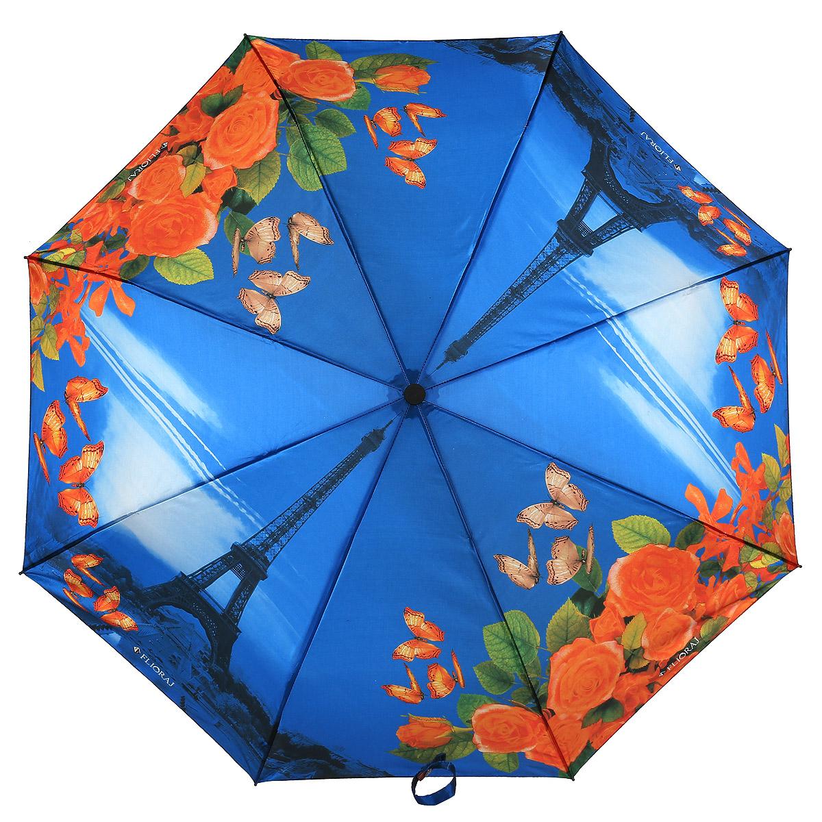 Зонт женский Flioraj, автомат, 3 сложения, цвет: синий, оранжевый. 231218 FJ231218 FJПариж, цветы, весна… и все это всегда рядом, в сумочке! Женский зонтик с элегантным и при этом нежным рисунком добавит необычайную легкость вашему облику. Уникальные материалы повышенной прочности надежно защитят в непогоду.