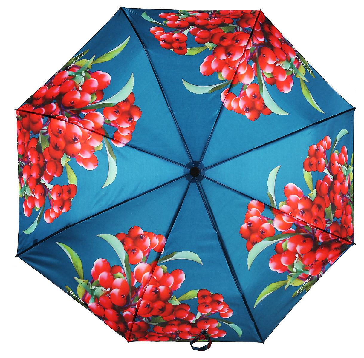Зонт женский Flioraj, автомат, 3 сложения, цвет: красный, синий. 190211 FJ190211 FJЭлегантный зонт FJ. Уникальный каркас из анодированной стали, карбоновые спицы помогут выдержать натиск ураганного ветра. Улучшенный механизм зонта, максимально комфортная ручка держателя, увеличенный в длину стержень, тефлоновая пропитка материала купола - совершенство конструкции с изысканностью изделия на фоне конкурентоспособной цены.