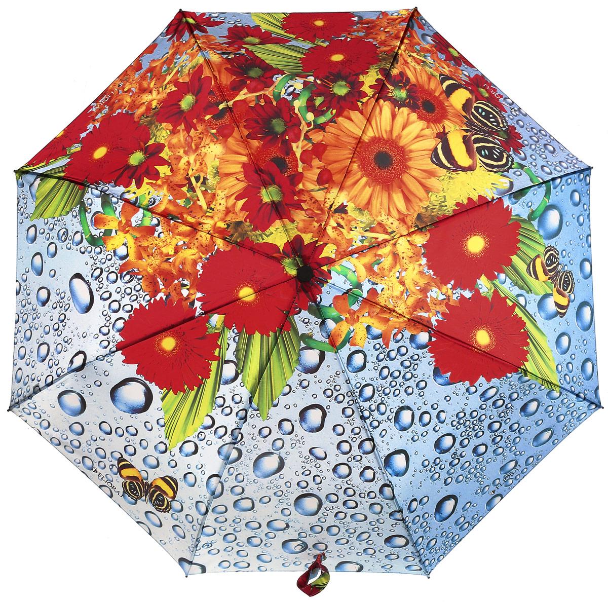 Зонт женский Flioraj, автомат, 3 сложения, цвет: оранжевый, желтый, белый. 231211 FJ231211 FJЖенские зонты с нежным рисунком создадут весеннее настроение в любую непогоду! Уникальный каркас из анодированной стали, карбоновые спицы обеспечат надежную защиту даже при порывах ураганного ветра. Улучшенный механизм позволит быстро открыть, а потом сложить зонт.