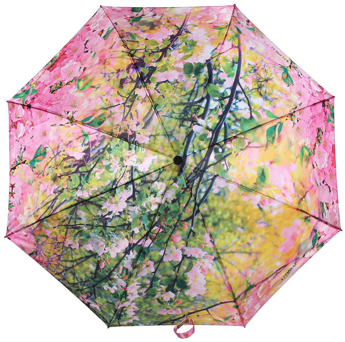 Зонт женский Flioraj, автомат, 3 сложения, цвет: розовый, желтый. 231216 FJ231216 FJЖенские зонты с нежным рисунком создадут весеннее настроение в любую непогоду! Уникальный каркас из анодированной стали, карбоновые спицы обеспечат надежную защиту даже при порывах ураганного ветра. Улучшенный механизм позволит быстро открыть, а потом сложить зонт.