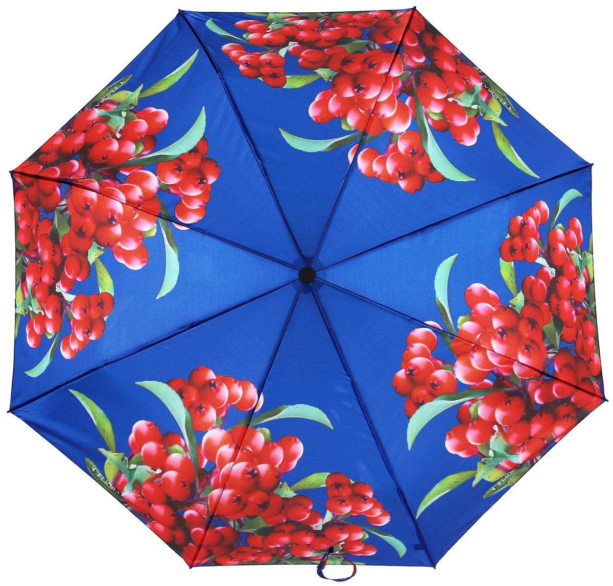 Зонт женский Flioraj, автомат, 3 сложения, цвет: красный, синий. 190212 FJ190212 FJЭлегантный зонт FJ. Уникальный каркас из анодированной стали, карбоновые спицы помогут выдержать натиск ураганного ветра. Улучшенный механизм зонта, максимально комфортная ручка держателя, увеличенный в длину стержень, тефлоновая пропитка материала купола - совершенство конструкции с изысканностью изделия на фоне конкурентоспособной цены.