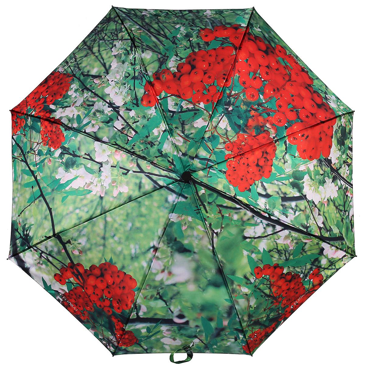 Зонт женский Flioraj, автомат, 3 сложения, цвет: зеленый, красный. 231213 FJ231213 FJЖенские зонты с нежным рисунком создадут весеннее настроение в любую непогоду! Уникальный каркас из анодированной стали, карбоновые спицы обеспечат надежную защиту даже при порывах ураганного ветра. Улучшенный механизм позволит быстро открыть, а потом сложить зонт.
