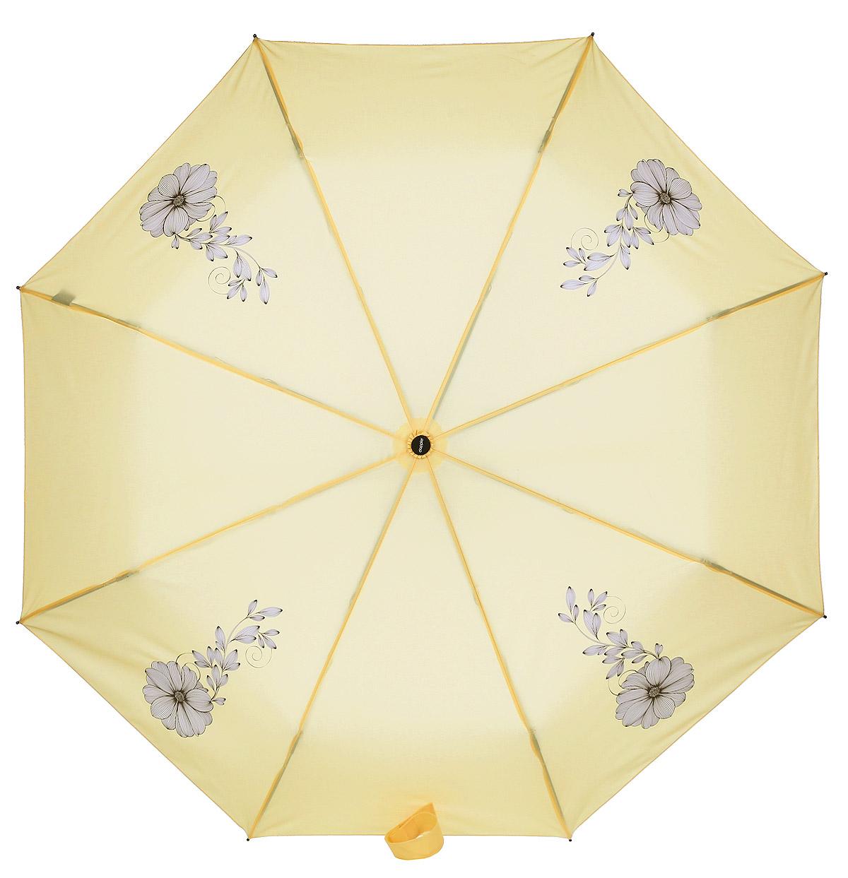 Doppler Зонт Flowers, 3 сложения, система антиветер, лакированная ручка. 7441465F yellow7441465F yellowЗонт Doppler, всемирно известный бренд, имеющий многолетнюю традицию.