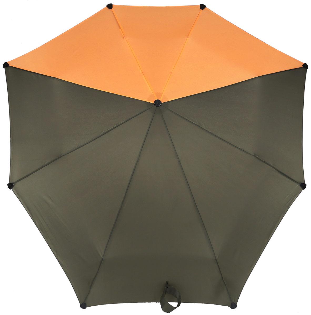 Зонт-автомат Senz, цвет: серый, оранжевый. 10240181024018Инновационный противоштормовый зонт, выдерживающий любую непогоду. Входит в коллекцию senz6, разработанную совместно со знаменитыми дизайнерами фэшн-индустрии и отвечающую новейшим веяниям моды. Форма купола продумана так, что вы легко найдете самое удобное положение на ветру – без паники и без борьбы со стихией. Закрывает спину от дождя. Благодаря своей усовершенствованной конструкции, зонт не выворачивается наизнанку даже при сильном ветре. Характеристики: - тип — автомат - три сложения - выдерживает порывы ветра до 80 км/ч - УФ-защита 50+ - эргономичная ручка - безопасные колпачки на кончиках спиц - в комплекте чехол с фирменным принтом - гарантия 2 года Размер купола - 91 х 91 см., длина в сложенном виде - 28 см., в раскрытом - 57 см. Весит 360 г.