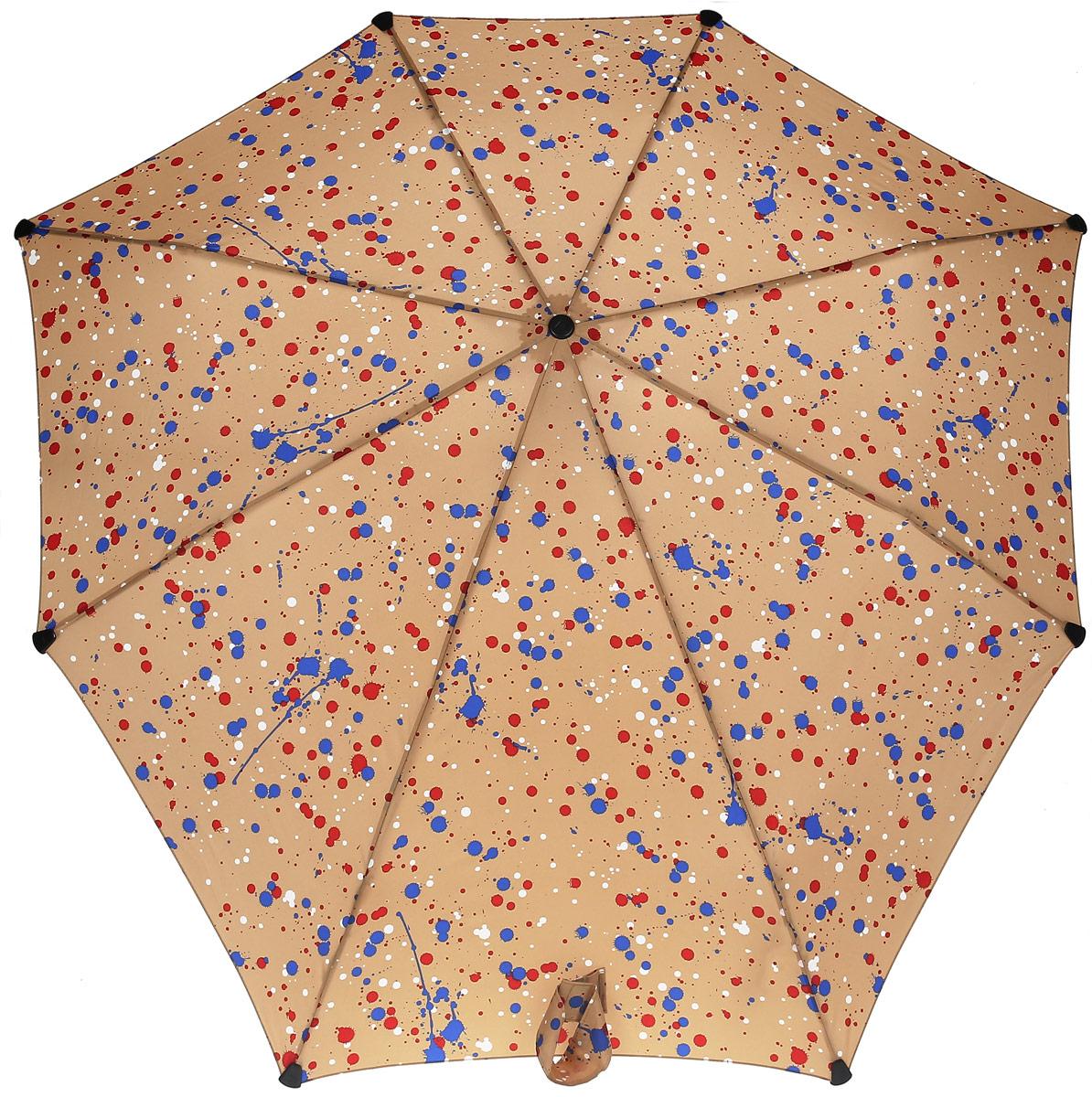 Зонт-автомат Senz, цвет: бежевый. 10240141024014Инновационный противоштормовый зонт, выдерживающий любую непогоду. Входит в коллекцию senz6, разработанную совместно со знаменитыми дизайнерами фэшн-индустрии и отвечающую новейшим веяниям моды. Форма купола продумана так, что вы легко найдете самое удобное положение на ветру – без паники и без борьбы со стихией. Закрывает спину от дождя. Благодаря своей усовершенствованной конструкции, зонт не выворачивается наизнанку даже при сильном ветре. Характеристики: - тип — автомат - три сложения - выдерживает порывы ветра до 80 км/ч - УФ-защита 50+ - эргономичная ручка - безопасные колпачки на кончиках спиц - в комплекте чехол с фирменным принтом - гарантия 2 года Размер купола - 91 х 91 см., длина в сложенном виде - 28 см., в раскрытом - 57 см. Весит 360 г.