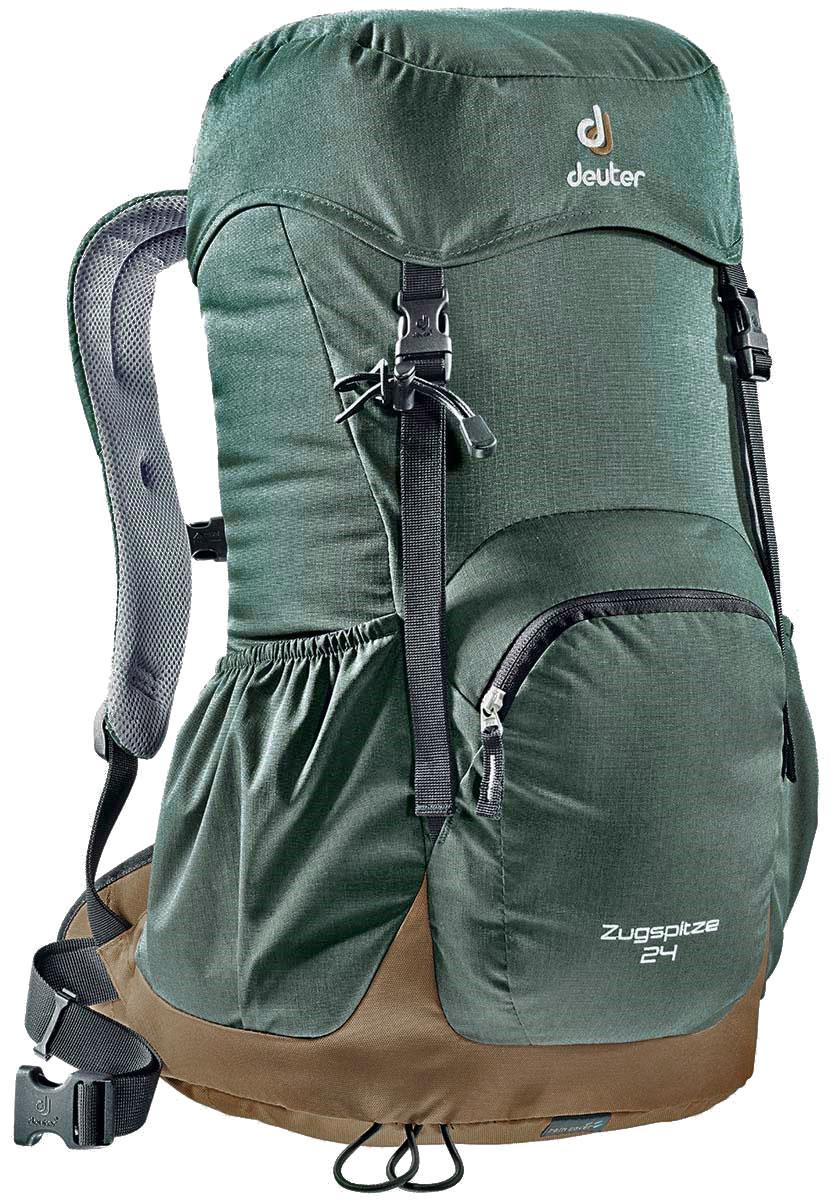 Рюкзак Deuter Zugspitze 24, цвет: зеленый, коричневый, серый, 24 л3430116_7602Классический рюкзак. Эту модель Deuter выпускает с 1984 года, каждый год внося в конструкцию усовершенствования, используя современные материалы. набедренный пояс с вентилируемой подкладкой, анатомические плечевые лямки с мягкими краями две застежки на клапане, под клапаном можно надежно уложить дополнительное снаряжение, карман в верхнем клапане,два боковых сетчатых кармана и передний карман, петли для телескопических палок, встроенный съемный чехол от дождя