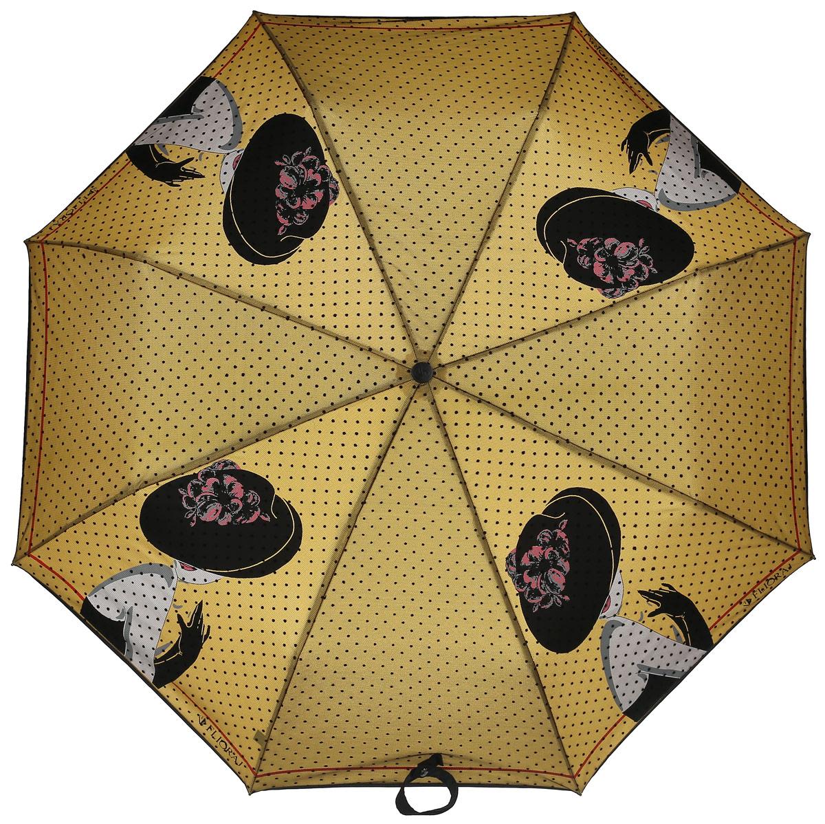 Зонт женский Flioraj, автомат, 3 сложения, цвет: бежевый. 22004 FJ22004 FJСтильный, элегантный зонт для женщин не позволит затеряться вам в толпе. Образ яркой незнакомки долго еще будет преследовать встречных мужчин. Специально разработанная эргономичная ручка позволит удобно держать зонт при любых порывах ветра. Уникальный каркас из анодированной стали, карбоновые спицы помогут выдержать натиск ураганного ветра. Улучшенный механизм зонта, максимально комфортная ручка держателя, увеличенный в длину стержень, тефлоновая пропитка материала купола - совершенство конструкции с изысканностью изделия на фоне конкурентоспособной цены.