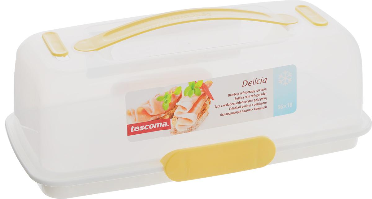 Тортовница-поднос с охлаждающим эффектом Tescoma Delicia, с крышкой, 36 x 18 см630844Поднос Tescoma Delicia изготовлен из высококачественного прочного пластика. Он оснащен прозрачной крышкой и охлаждающим вкладышем. Отлично подходит для переноса и подачи тортов, десертов, канапе, бутербродов, фруктов. Благодаря специальному вкладышу блюда дольше остаются охлажденными и свежими. Крышка фиксируется на подносе за счет двух зажимов, а удобная ручка позволяет переносить поднос с места на место. Можно мыть в посудомоечной машине, кроме охлаждающего вкладыша. Размер подноса: 36 х 18 см. Высота подноса: 3 см. Высота крышки (без учета ручки): 10 см. Размер охлаждающего вкладыша: 13,5 х 13,5 х 1,5 см.