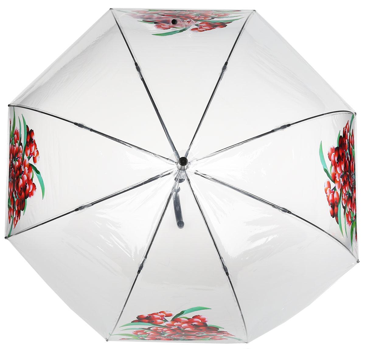 Зонт женский Flioraj, механика, трость, цвет: белый, красный. 121206 FJ121206 FJЭлегантный зонт FJ. Уникальный каркас из анодированной стали, карбоновые спицы помогут выдержать натиск ураганного ветра. Улучшенный механизм зонта, максимально комфортная ручка держателя, увеличенный в длину стержень, тефлоновая пропитка материала купола - совершенство конструкции с изысканностью изделия на фоне конкурентоспособной цены.