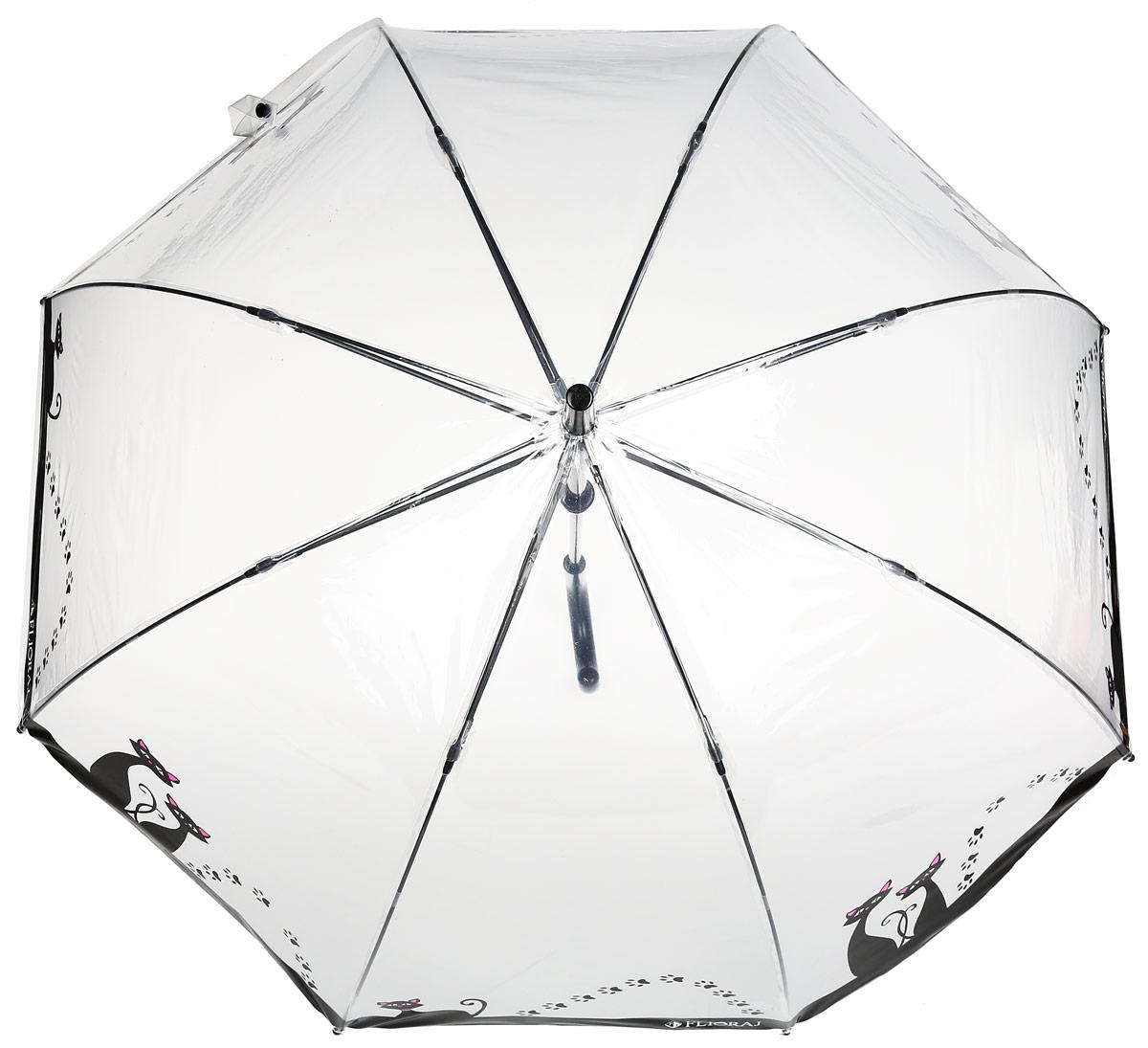 Зонт-трость женский Flioraj, механика, цвет: прозрачный, черный. 121205 FJ121205 FJОригинальный зонт-трость Flioraj надежно защитит вас от дождя. Прозрачный купол выполнен из высококачественного ПВХ, который не пропускает воду. Каркас зонта и спицы выполнены из высококачественного металла. Зонт имеет механический тип сложения: открывается и закрывается вручную до характерного щелчка. Удобная ручка выполнена из пластика.