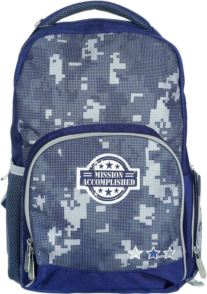 Proff Рюкзак детский Military MI16-BP-20-01MI16-BP-20-01Детский рюкзак Proff Military предназначен для хранения и транспортировки личных вещей. Рюкзак выполнен из полиэстера, уплотнители - из поролона, элементы отделки - из пластика, металла, ПВХ. Рюкзак состоит из одного вместительного отделения, закрывающегося на застежку-молнию. Внутри отделения находится мягкий разделитель для учебников и тетрадей, который фиксируется хлястиком на липучку. На лицевой стороне расположен накладной карман на молнии, внутри которого находятся четыре небольших открытых кармашка и лента с карабином для ключей. Рюкзак оснащен двумя накладными боковыми карманами - один на застежке-молнии, другой на резинке. Конструкция спинки дополнена противоскользящей сеточкой для предотвращения запотевания спины. Мягкие широкие лямки позволяют легко и быстро отрегулировать рюкзак в соответствии с ростом. Анатомическая форма лямок обеспечивает более плотную фиксацию рюкзака, предотвращая перенапряжение мышц спины. Рюкзак оснащен удобной текстильной ручкой для...