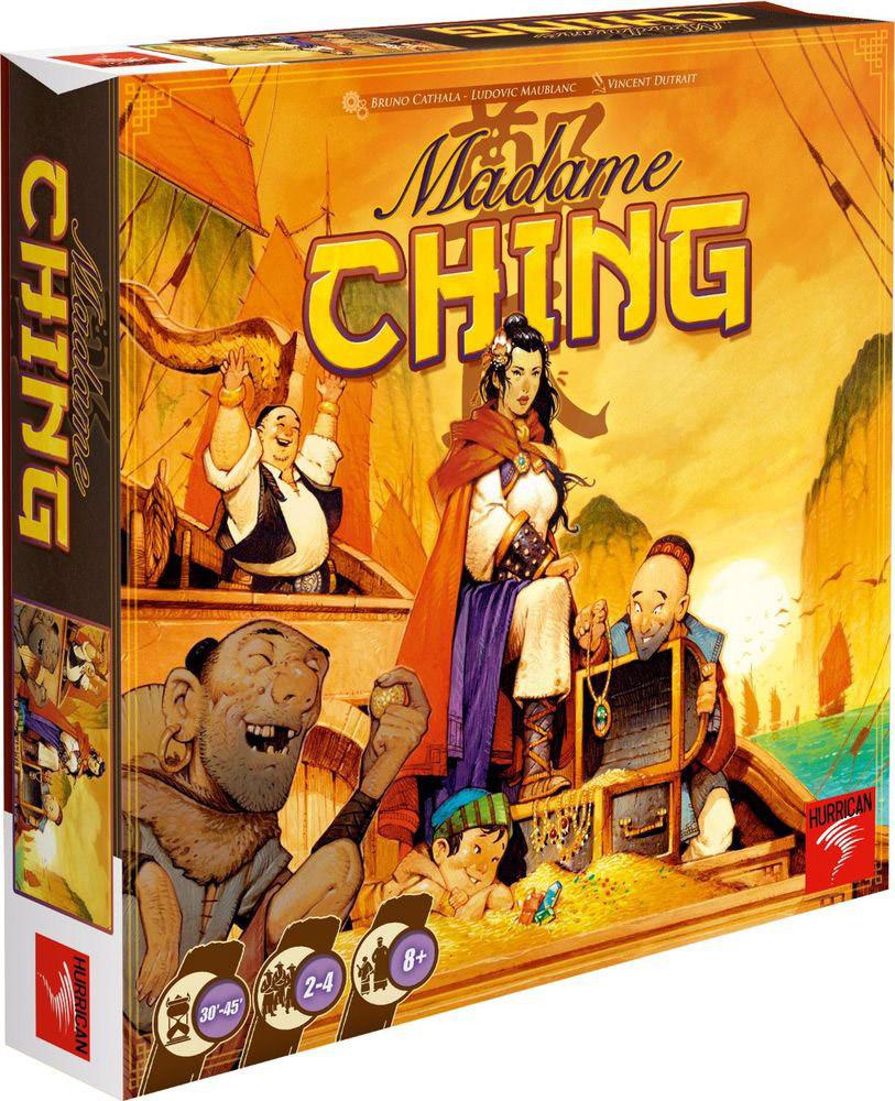 Hurrican Настольная игра Мадам Чжэн7612577111015Где-то в Китайском море джонки отправляются в далёкую экспедицию... Чем дальше от родных берегов рискнёт отплыть игрок, тем большая награда его ожидает. А если какой-нибудь капитан отважится разграбить Гонконг, то его пиратской репутации это пойдёт на пользу. Впрочем, дел хватает и без этого: топите корабли императора, помогайте рыбацким деревушкам бороться с его гнётом - и набивайте трюмы богатой добычей в настольной игре Hurrican Мадам Чжэн! Богатей, набирайся опыта - и стань адмиралом несокрушимого флота знаменитой пиратки мадам Чжэн! Время игры: 30-45 минут. Состав игры: игровое поле, 55 карт навигации (с номерами от 1 до 55), 33 карты встречи, 20 карт навыков, 1 карта Жемчужины Китая, 1 карта порта Гонконга, 23 тайла заданий, 8 джонок (по 2 красного, чёрного, жёлтого и белого цветов), 36 драгоценных камней (по 12 белого, красного и синего цветов), 46 золотых монет.