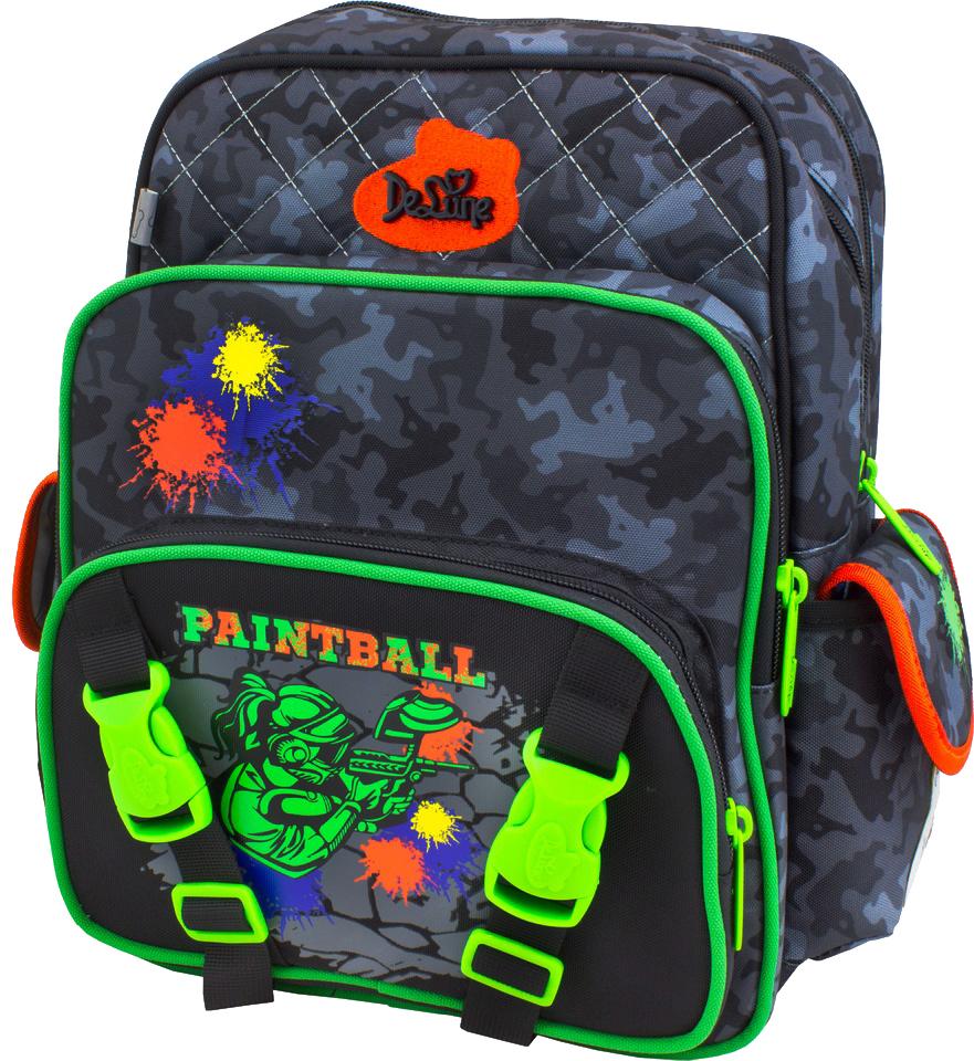 DeLune Рюкзак детский Paintball с наполнением цвет черный салатовый 2 предмета55-06Детский рюкзак DeLune Paintball имеет мягко-каркасную форму, которая позволяет держать форму даже при полностью пустом рюкзаке, не прогибается и не меняется под весом. Эргономичная спинка имеет достаточно жесткий каркас, но при этом очень мягкая и приятная снаружи, что обеспечивает комфортное ношение и защиту спины ребенка. Благодаря необычной форме рюкзак имеет большую вместимость. Проработанные детали, украшения и аппликации, яркие ткани - все для того, чтобы сохранить для детей ощущения сказки и волшебства и окунуть их в мир чудес, а благодаря качественному, легкому и прочному материалу рюкзак долговечен в носке, а множество отделений поможет разместить все необходимые вещи школьника. Рюкзак имеет два основных отделения. В центральном отделении находятся два пластиковых разделителя с двумя карманами из сетки, на противоположной стороне - большое сетчатое отделение на резинке. Дно рюкзака можно сделать более жестким, разложив специальную панель, что повышает сохранность...