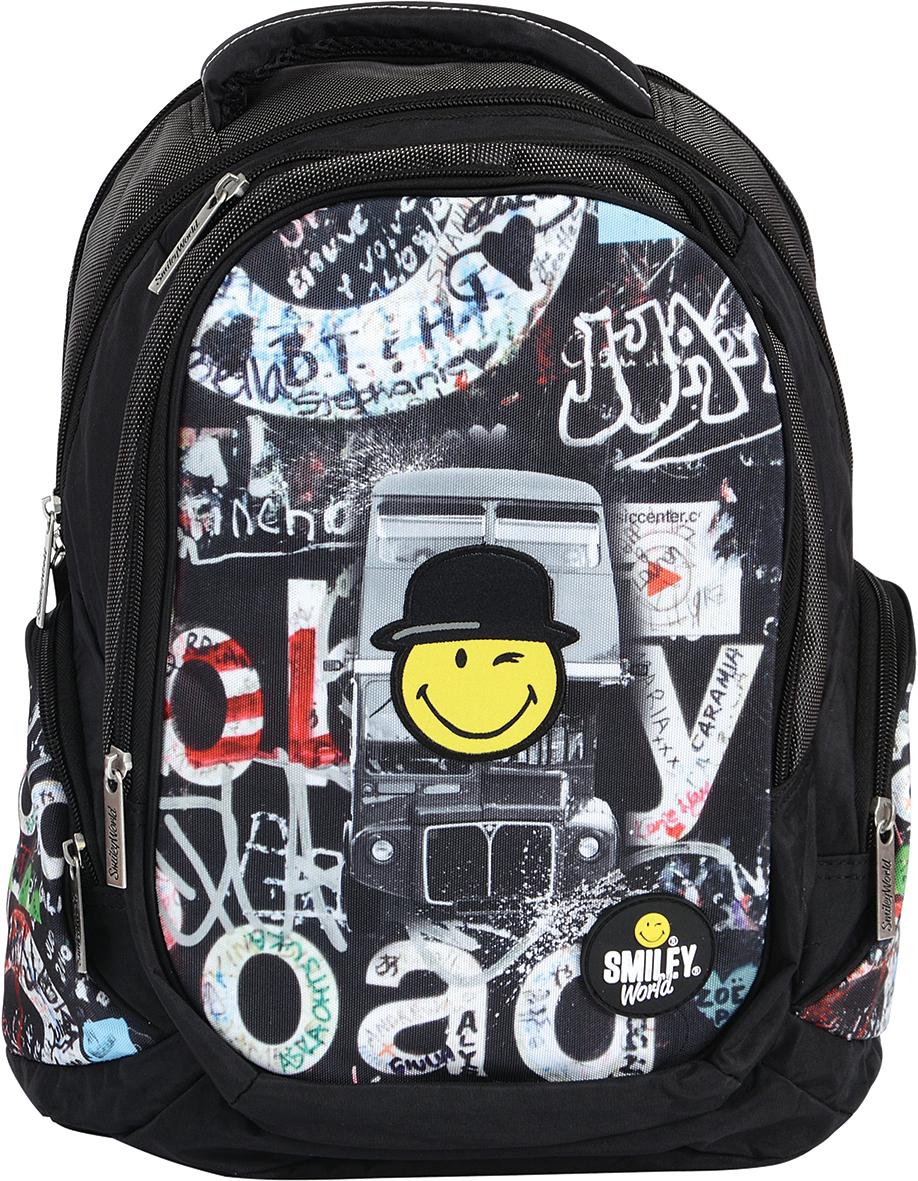 Proff Рюкзак детский Smiley WorldSB16-BP-08Рюкзак молодежный Proff Smiley World предназначен для хранения и транспортировки личных вещей. Он выполнен из прочного материла и дополнен изображением в виде смайлика. Рюкзак состоит из двух вместительных отделений, закрывающихся на застежки-молнии. Большое отделение дополнено мягким карманом на липучке для планшета. На лицевой стороне расположен накладной карман на молнии, внутри которого имеется открытый накладной карман, 4 небольших кармашка для канцелярских принадлежностей и брелок для ключей. Между отделением и накладным внешним карманом имеется специальный небольшой кармашек, который можно использовать для мобильного телефона. Рюкзак оснащен двумя накладными боковыми карманами на застежке-молнии. Конструкция спинки дополнена противоскользящей сеточкой для предотвращения запотевания спины. Мягкие широкие лямки позволяют легко и быстро отрегулировать рюкзак в соответствии с ростом. Анатомическая форма лямок обеспечивает более плотную фиксацию ...