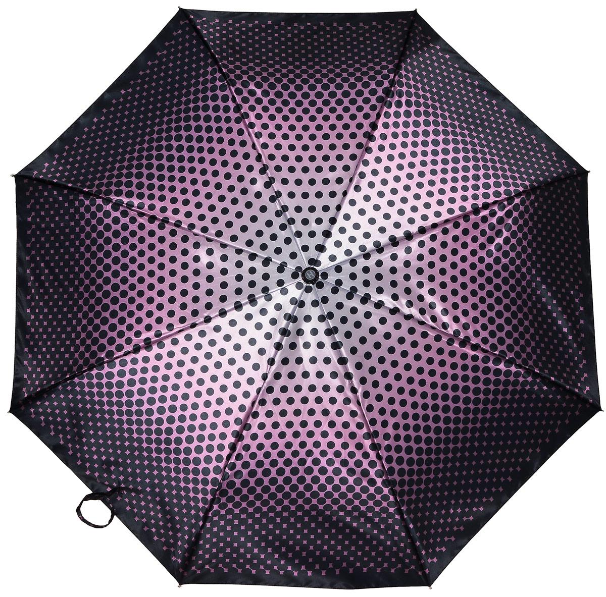 Зонт женский Henry Backer, 3 сложения, цвет: фиолетовый. U23202 Purple peasU23202 Purple peasСтильный женский зонт «Лиловый горох» с сатиновым куполом, автомат У зонта комфортная для ладони рукоять из нескользящего материала с насечками под пальцы, чтобы зонт было удобно удерживать при порывах ветра.