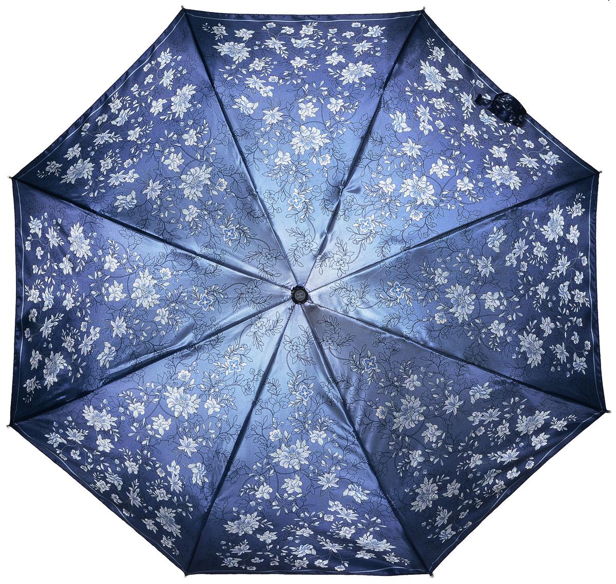 Зонт женский Henry Backer, 3 сложения, цвет: синий. U23206 Night flowersU23206 Night flowersЭлегантный женский зонт «Цветы ночью» с сатиновым куполом, автомат У зонта комфортная для ладони рукоять из нескользящего материала с насечками под пальцы, чтобы зонт было удобно удерживать при порывах ветра.