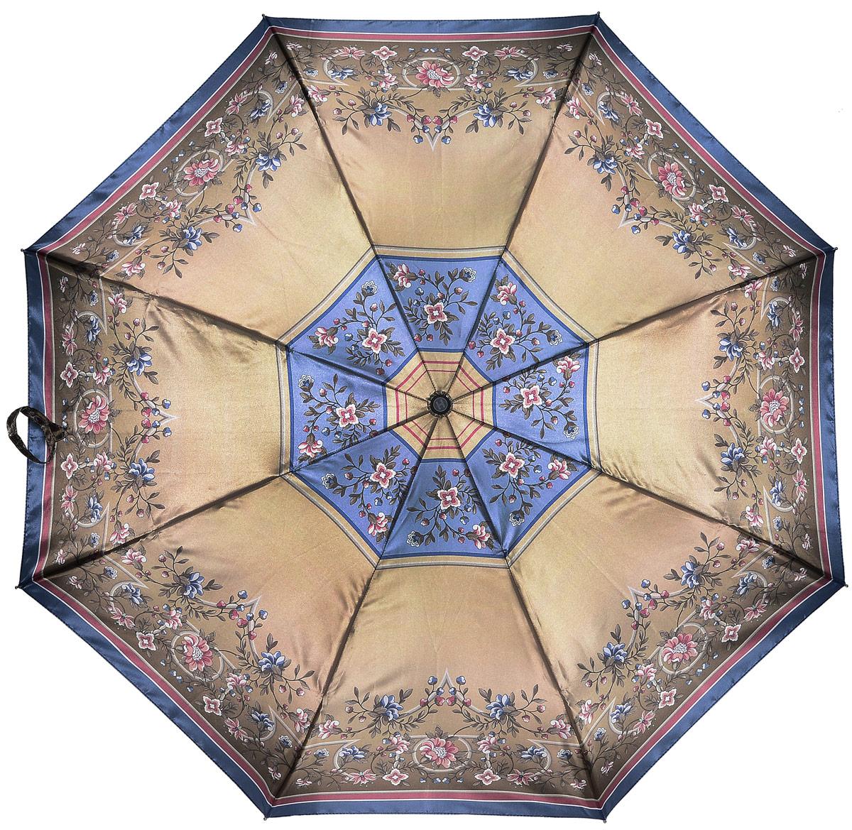 Зонт женский Henry Backer, 3 сложения, цвет: бежевый. U23205 Flowers in goldU23205 Flowers in goldЭффектный женский зонт «Цветы в золоте» с сатиновым куполом, автомат Рукоять сделана из нескользящего материала, на ней насечки для того, чтобы зонт было удобно удерживать под порывами ветра. Ветроустойчивый каркас выполнен из стали, алюминия и фибергласса.