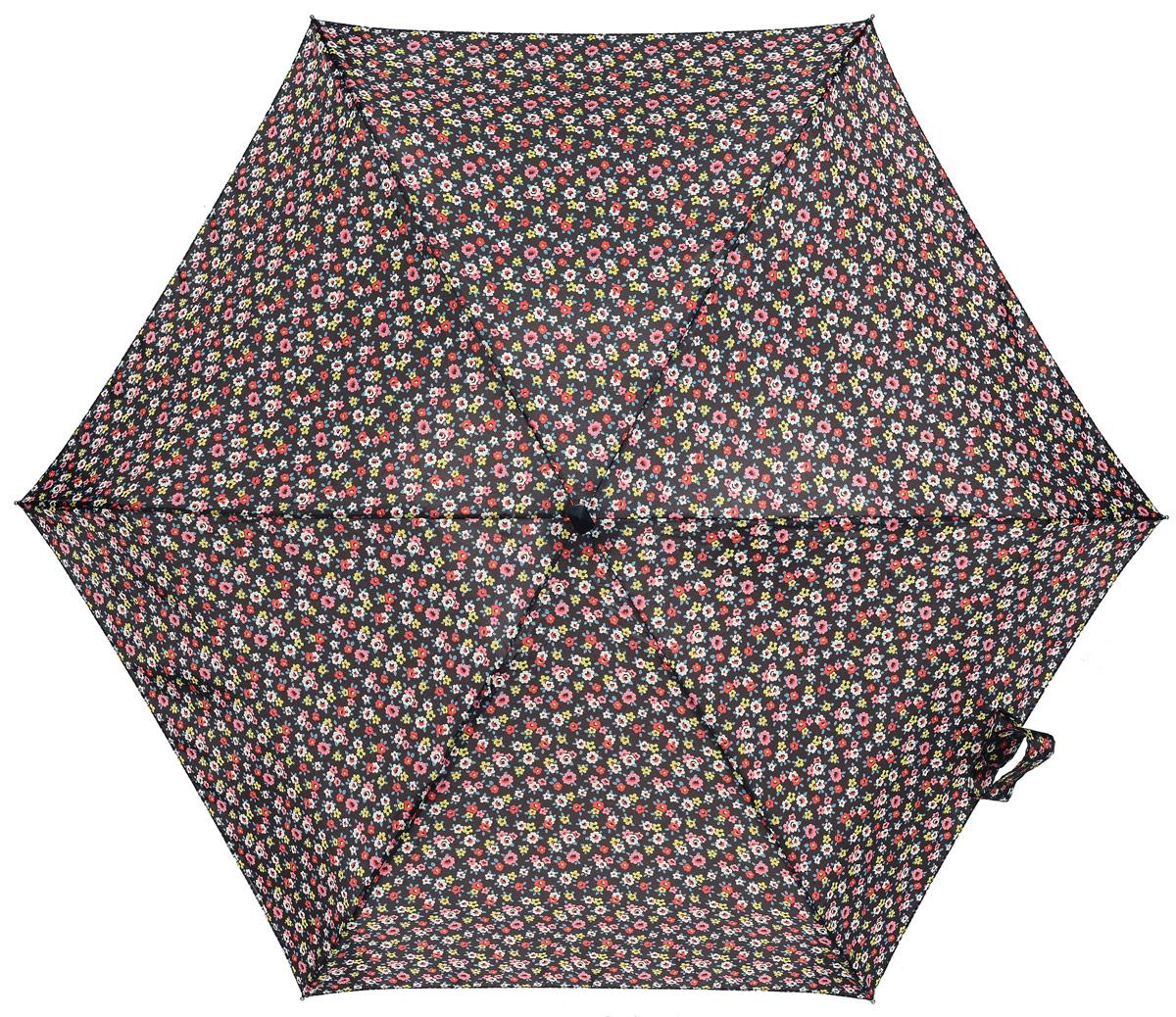 Зонт женский Fulton Cath Kidston, механический, 5 сложений, цвет: черный, мультиколор. L521-3059L521-3059 RoseCharcoalEnlargedКомпактный женский зонт Fulton выполнен из металла и пластика. Каркас зонта выполнен из шести спиц на прочном алюминиевом стержне. Купол зонта изготовлен из прочного полиэстера. Закрытый купол застегивается на хлястик с липучкой. Практичная рукоятка закругленной формы разработана с учетом требований эргономики и выполнена из натурального дерева. Зонт складывается и раскладывается механическим способом. Зонт дополнен легким плоским чехлом. Такая модель не только надежно защитит от дождя, но и станет стильным аксессуаром.