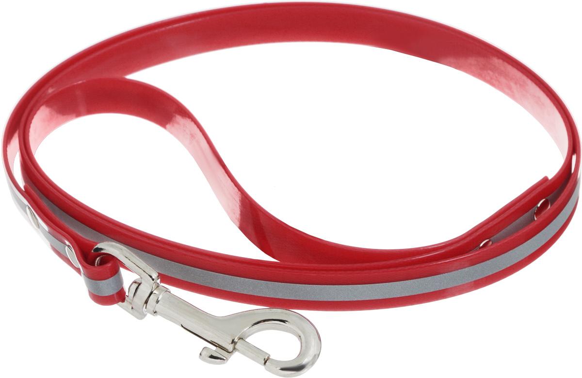 Поводок для собак Каскад Синтетик, со светоотражающей полосой, цвет: красный, ширина 1,5 см, длина 1,2 м02615122-02Поводок для собак Каскад Синтетик изготовлен из высокотехнологичного биотана (нейлон, термопластичный полиуретан) и снабжен металлическим карабином. Изделие имеет светоотражающую полоску. Поводок отличается не только исключительной надежностью и удобством, но и ярким дизайном. Он идеально подойдет для активных собак, для прогулок на природе и охоты в темное время суток. Поводок - необходимый аксессуар для собаки. Ведь в опасных ситуациях именно он способен спасти жизнь вашему любимому питомцу. Длина поводка: 1,2 м. Ширина поводка: 1,5 см.