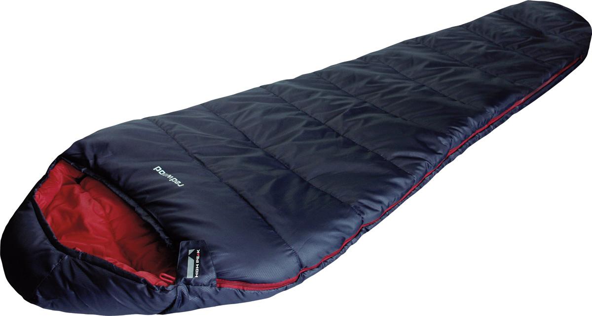 Спальник High Peak Redwood, цвет: темно-синий, левосторонняя молния23077Достаточно теплый спальник Redwood High Peak подойдет для летних походов по русскому северу и для ночевок при ночных заморозках. Спальник увеличенной ширины (85 см) и длины (230 см). Внешняя ткань из полиэстера 185Т с полиуретановым нанесением в виде сот, а внутренняя ткань хорошо испаряет влагу и приятна при прикосновении к коже. Спальник имеет полноценный капюшон с затяжкой и тепловой воротник на уровне плеч, которые защищают голову и плечи в прохладную ночь. В верхней части молния фиксируется клапаном на липучке Velcro. На молнии два бегунка, которые позволяют расстегнуть спальник со стороны ног и сделать вентиляционное окно. Вдоль молнии идет защита от закусывания замком молнии ткани спальника. Чтобы холодный воздух не проникал сквозь молнию, ее закрывает тепловой клапан. Спальник утеплен двумя слоями силиконизированного утеплителя Dura Loft, смешанного с холлофайбером в соотношении 70%/30% 2х150 г/м2 (300 г/м2) + 2х150 г/м2 (300 г/м2). В комплекте со спальником идет...