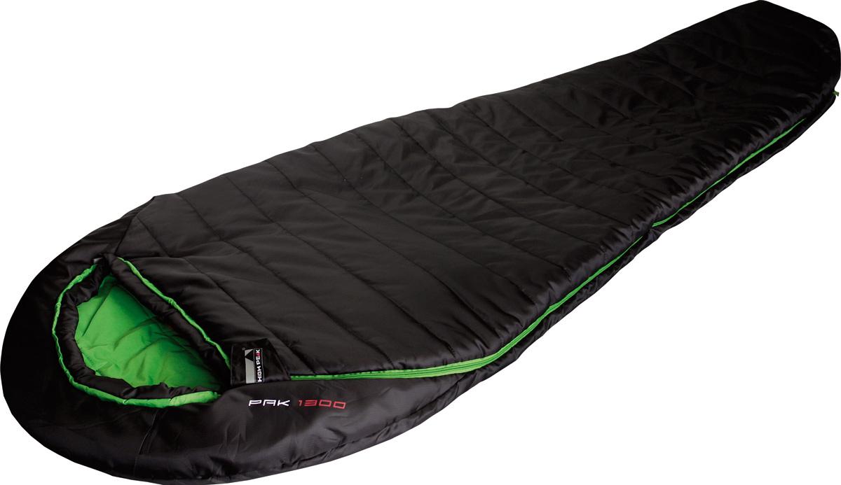 Спальник High Peak Pak 1300, цвет: черный, левосторонняя молния23313Спальник Pak 1300 High Peak - компактный спальник для походов с мая по сентябрь и несложных горных восхождений. Внешняя ткань усилена плетением рипстоп, а внутренняя ткань хорошо испаряет влагу и приятна на ощупь. Спальник имеет полноценный капюшон, защищающий голову и плечи в прохладную ночь. В верхней части молния фиксируется клапаном на липучке Velcro. На молнии 2 бегунка, которые позволяют расстегнуть спальник со стороны ног и сделать вентиляционное окно. Вдоль молнии идет защита от закусывания замком молнии ткани спальника. Чтобы холодный воздух не проникал сквозь молнию, ее закрывает тепловой клапан. Спальник утеплен двумя слоями силиконизированного утеплителя Dura Loft Н1 2х100 г/м2 (200 г/м2 ) + 2х100 г/м2 (200 г/м2 ). В комплекте со спальником идет компрессионный транспортировочный чехол объемом 11,3 л. Внешняя ткань Полиэстер с плетением рипстоп (Polyester RipStop) 210T Внутренняя ткань Паропроницаемый шелковистый полиэстер (Silk Polyester) 240T. Сторона состегивания...