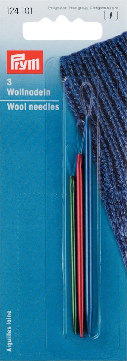 Набор игл для шерсти Prym, 3 шт124101Иглы для шерсти с гибким ушком для удобного вдевания нитей