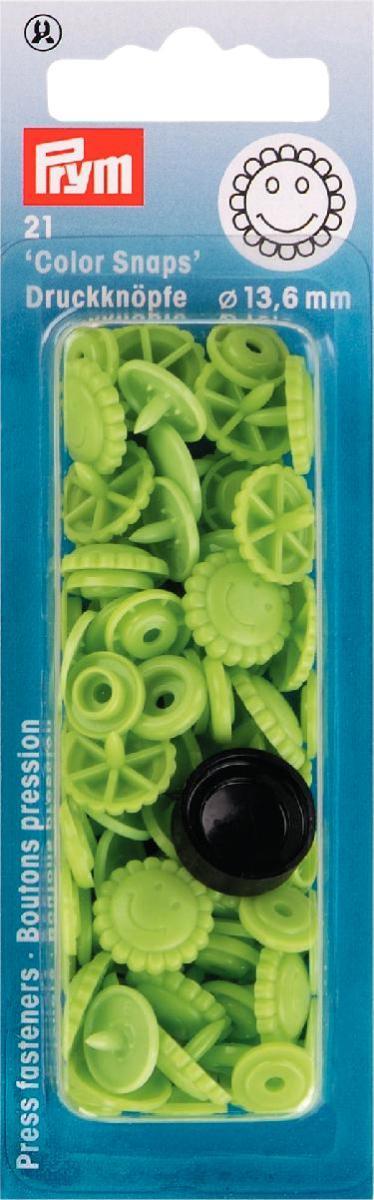 Кнопки Prym Color Snaps, диаметр 13,6 мм, цвет: зеленый, 21 шт393444