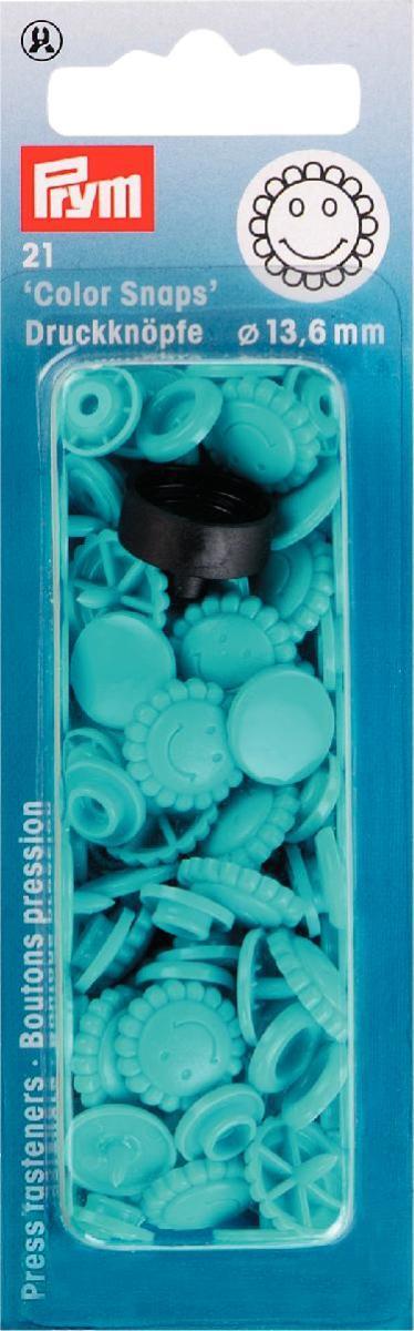 Кнопки Prym Color Snaps, диаметр 13,6 мм, цвет: бирюзовый, 21 шт393446