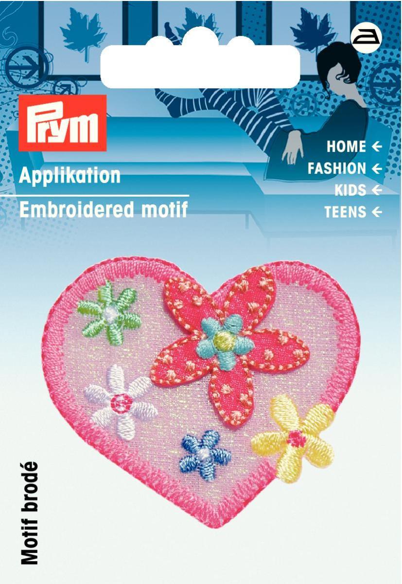 Аппликация Prym Сердце розовое с цветами925481