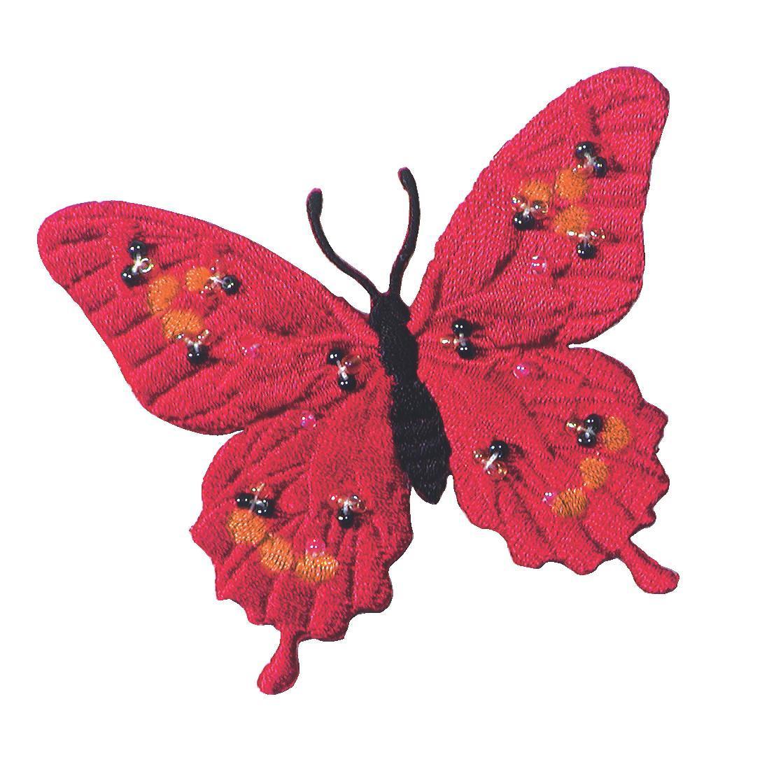 Аппликация Prym Бабочка, с бусинами, цвет: красный926163