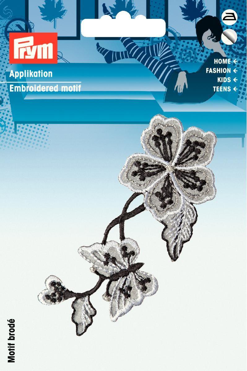 Аппликация Prym Цветы, самоклеющаяся, приутюживающаяся, цвет: черный926534