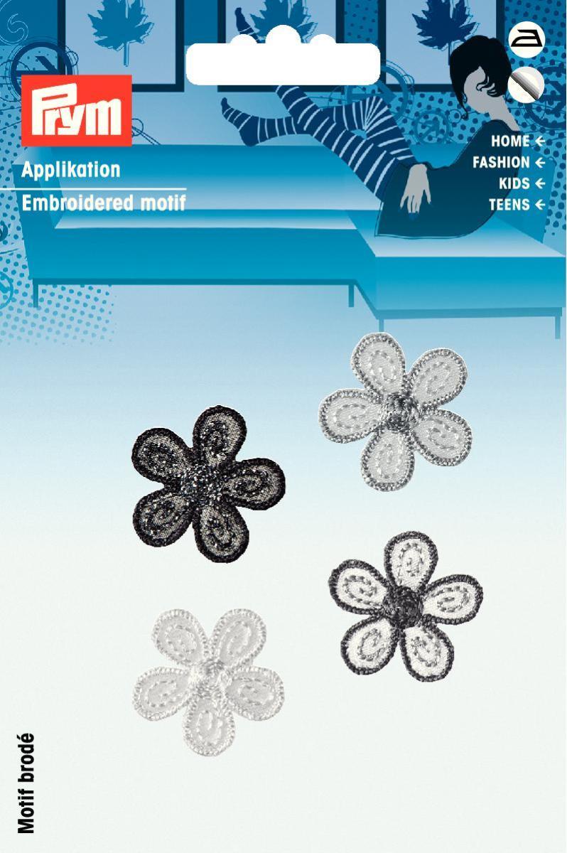 Аппликация Prym Цветы малые, самоклеющаяся, приутюживающаяся, цвет: черный926535